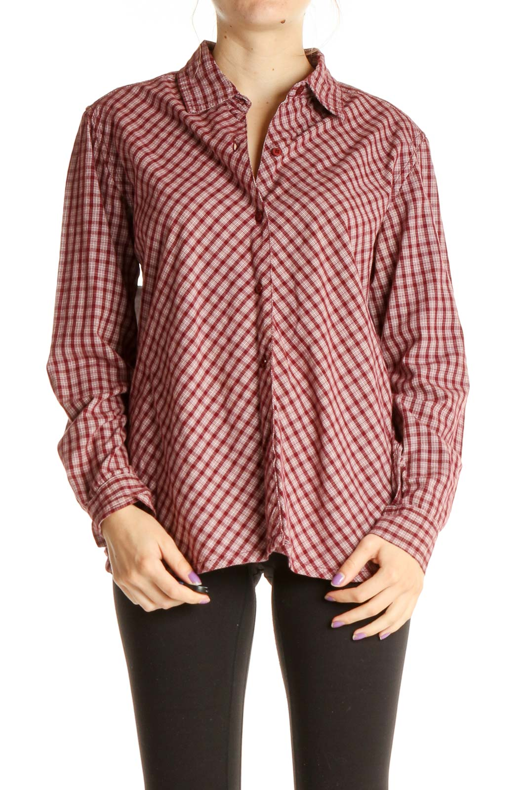 Red Checkered Formal Shirt Front