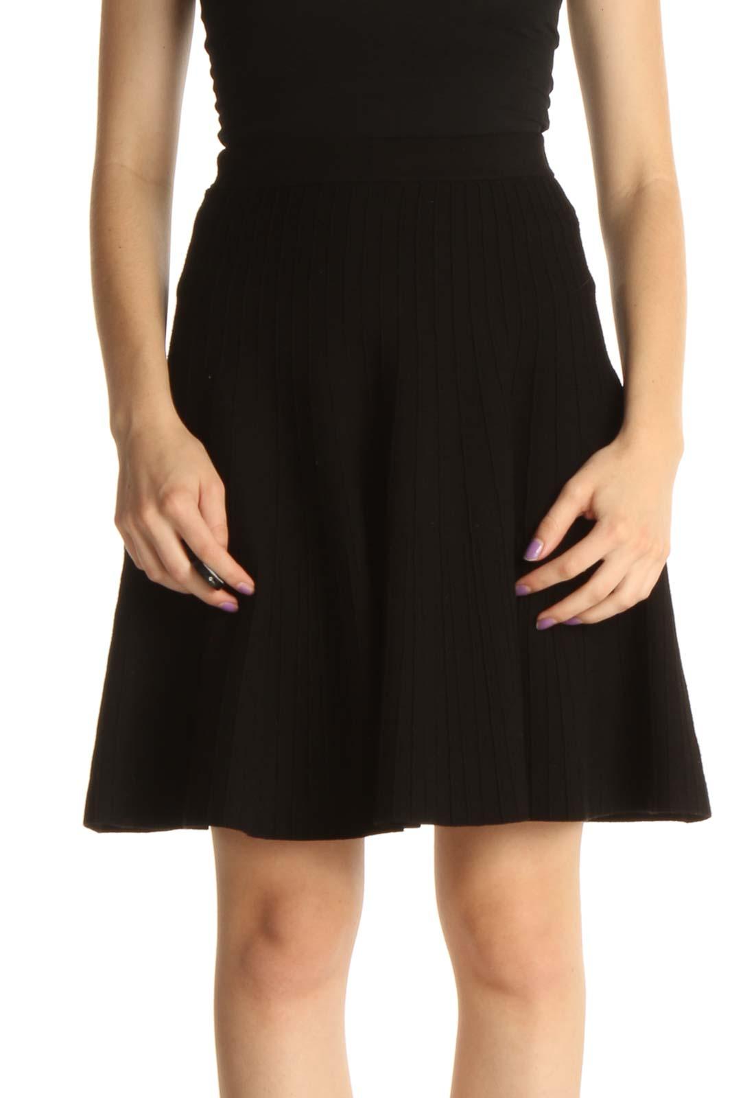 Black Brunch Flared Skirt Front