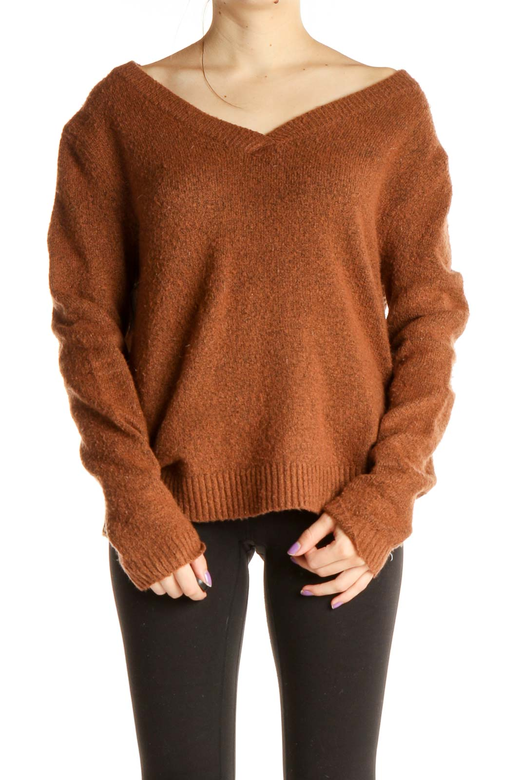 Brown Textured All Day Wear Sweater Front