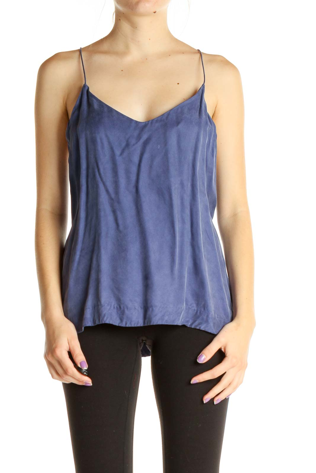 Blue Solid Chic Top Front