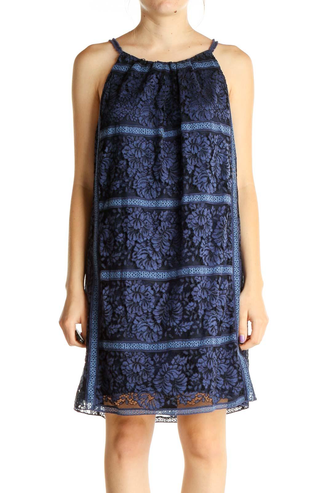 Blue Printed Holiday Shift Dress Front