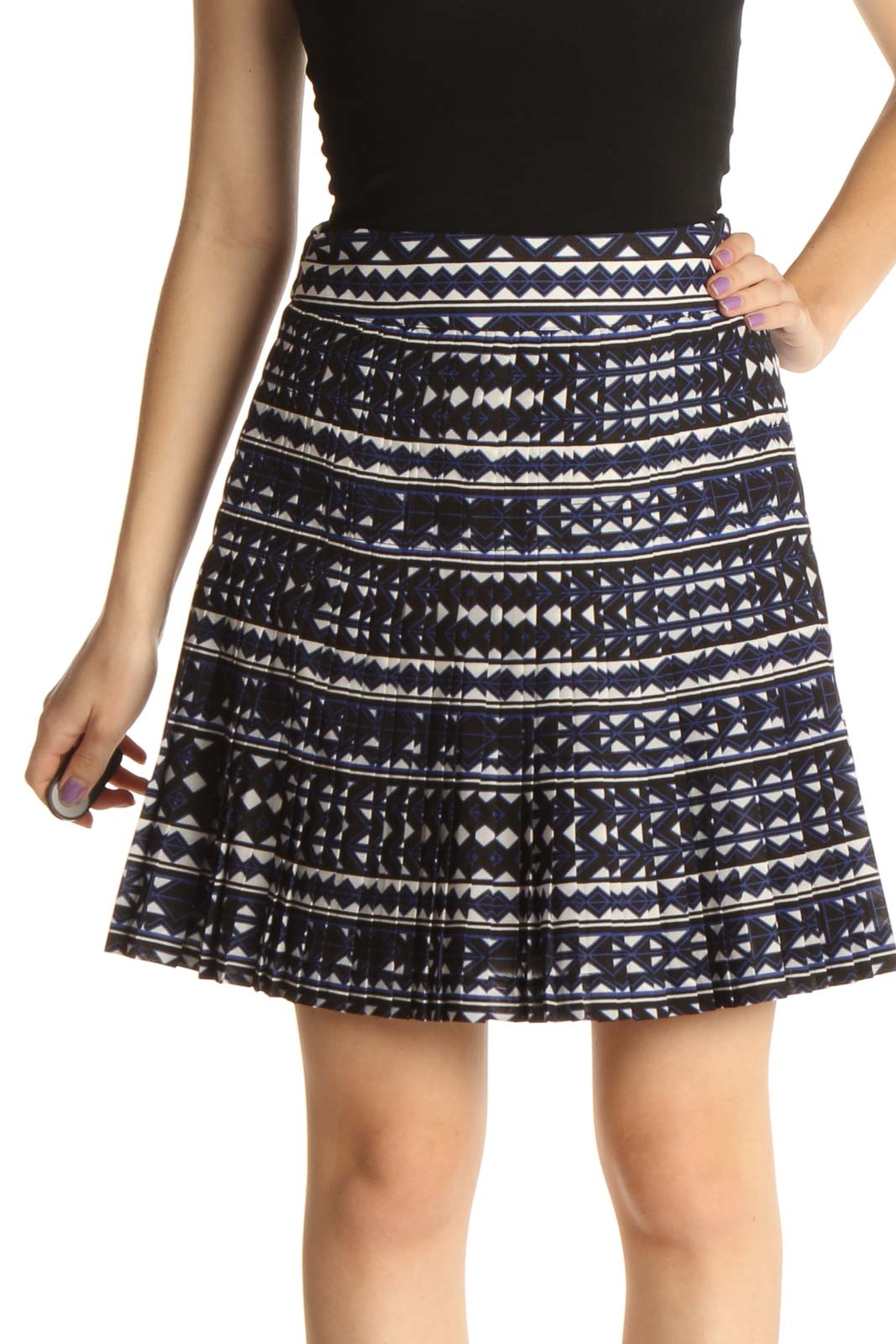 Blue Printed Chic A-Line Skirt Front