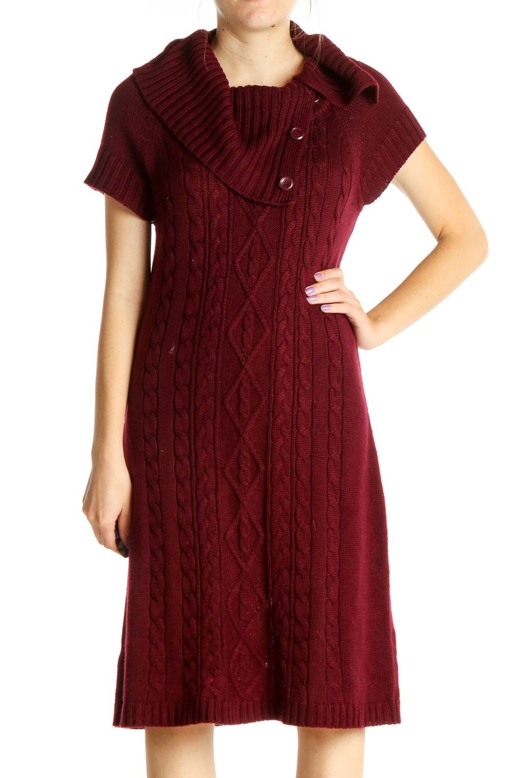 Red Solid Sweater Dress Front
