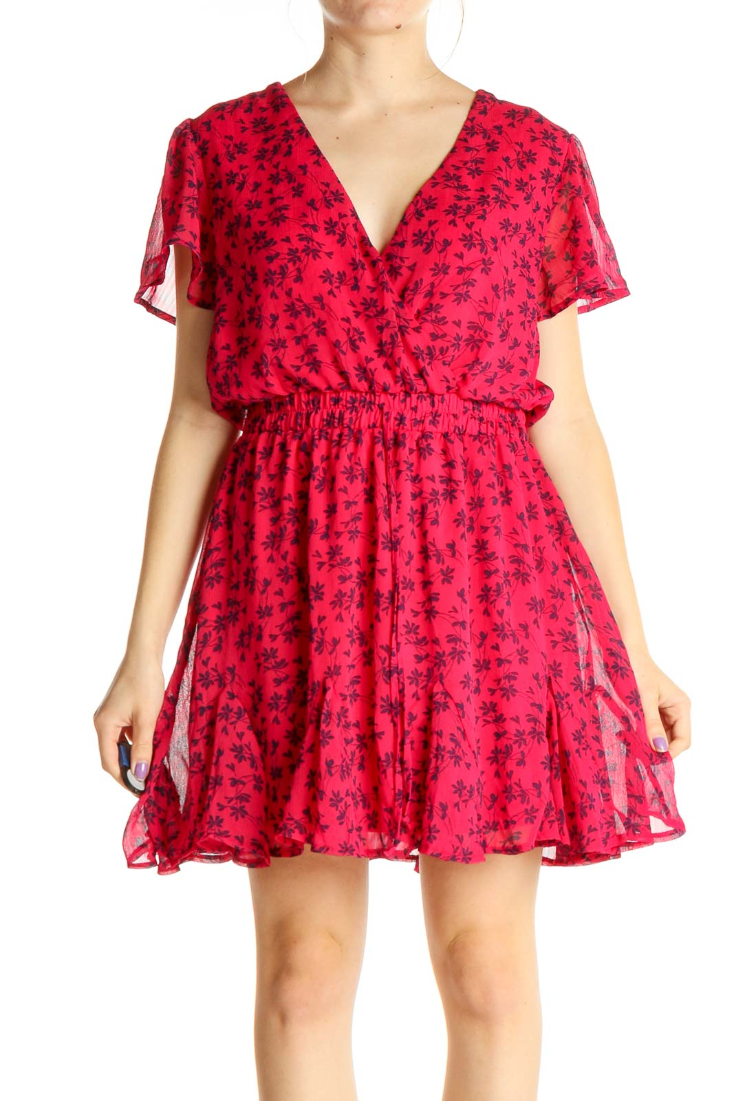 Pink Floral Print Day Fit & Flare Dress Front