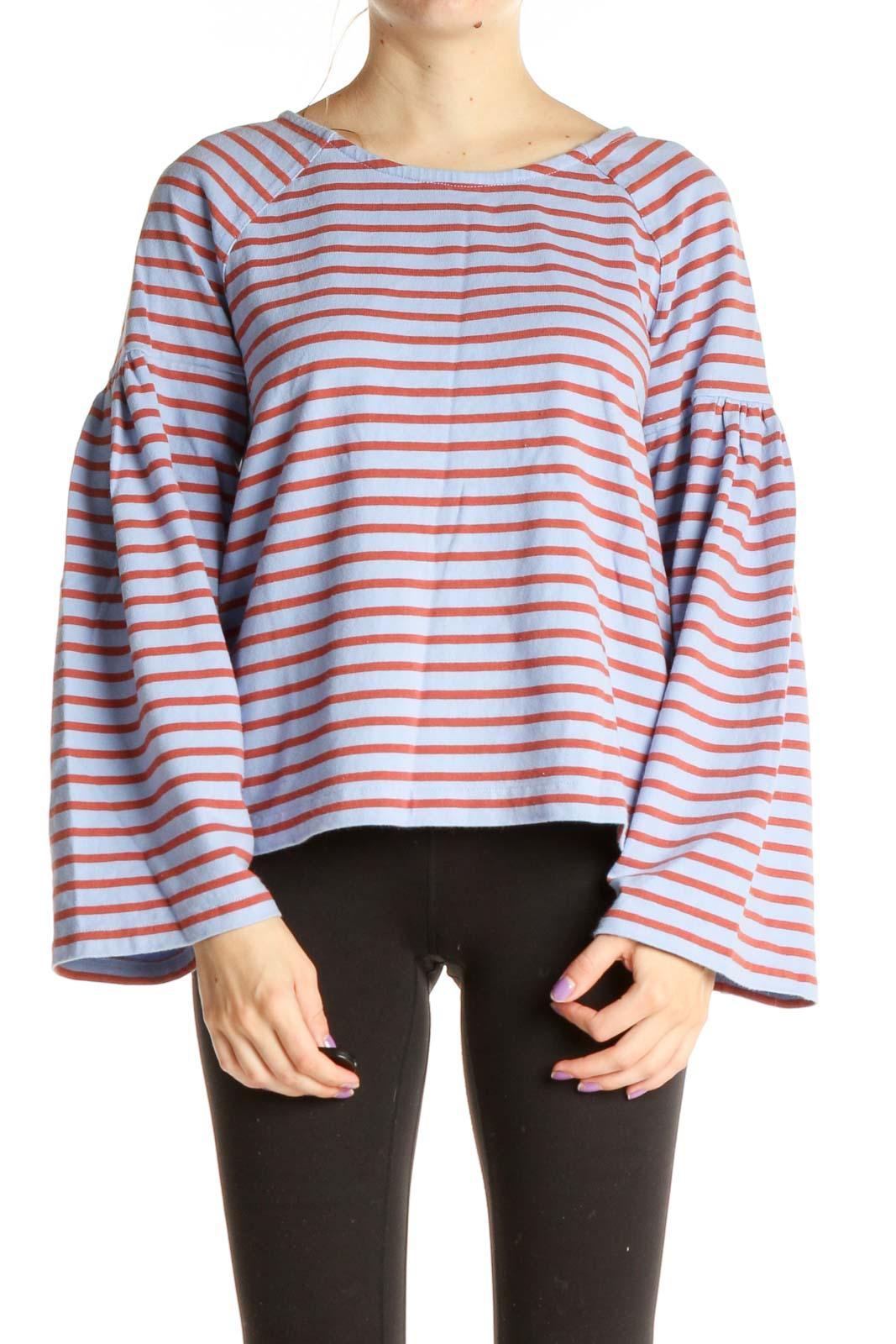 Blue Striped Bohemian Shirt Front