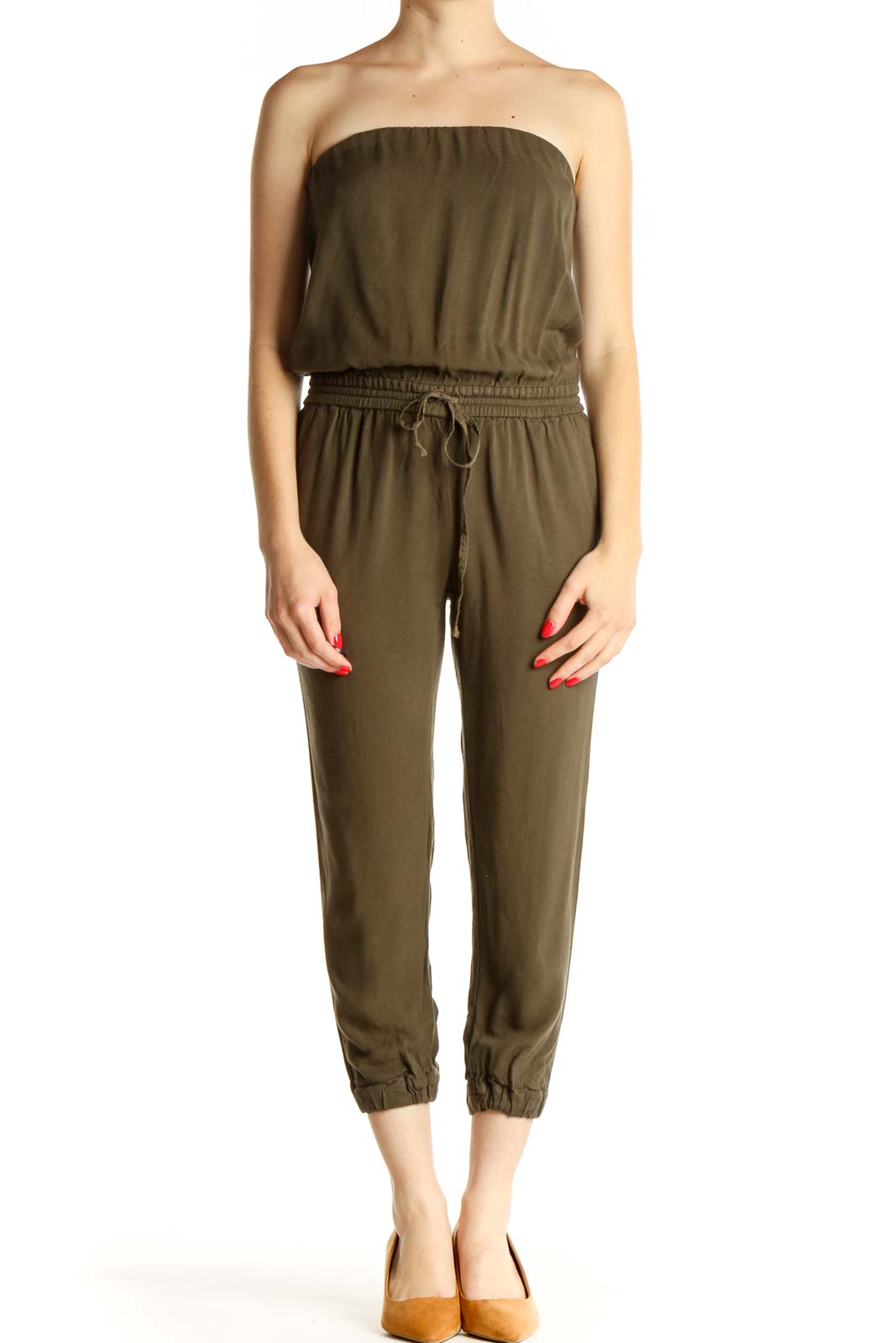 Green Solid Jumpsuit Front