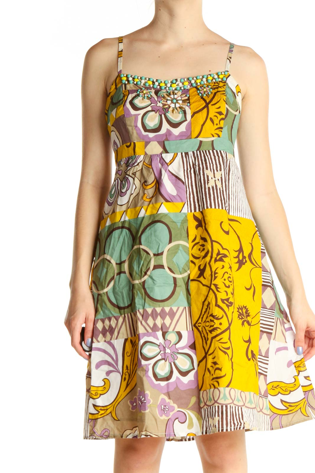 Yellow Graphic Print Bohemian Fit & Flare Dress Front
