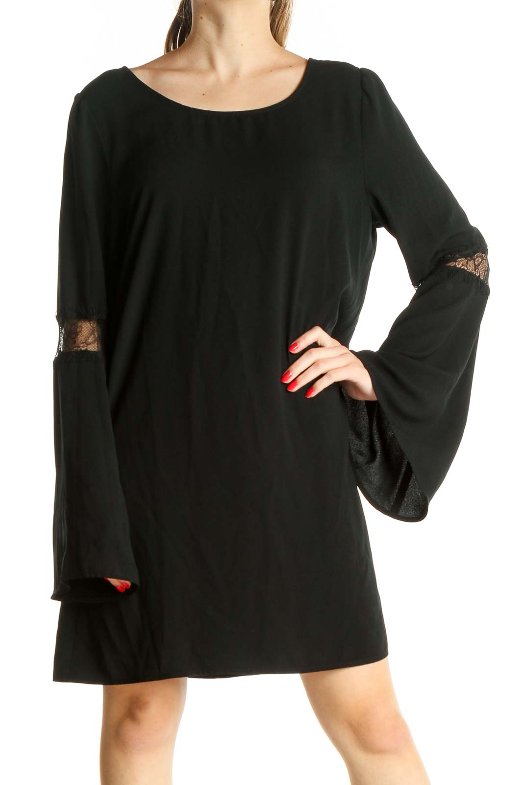 Black Solid Day Shift Dress Front