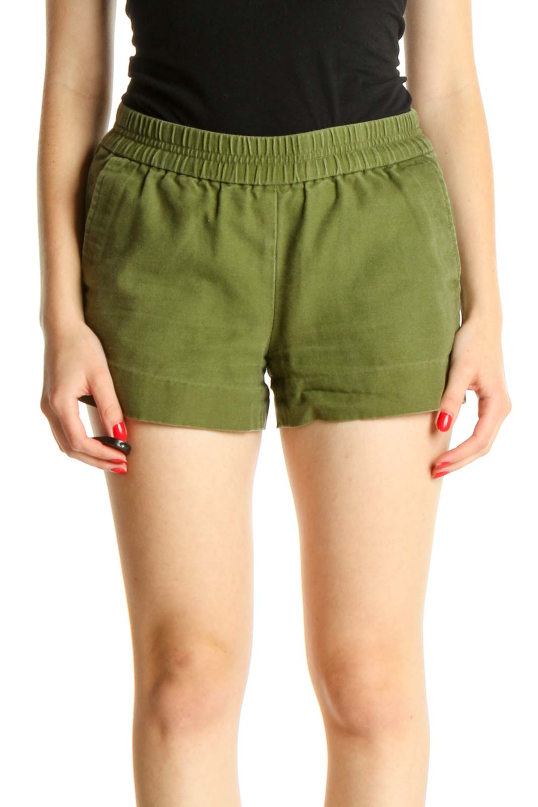 Green All Day Wear Shorts Front