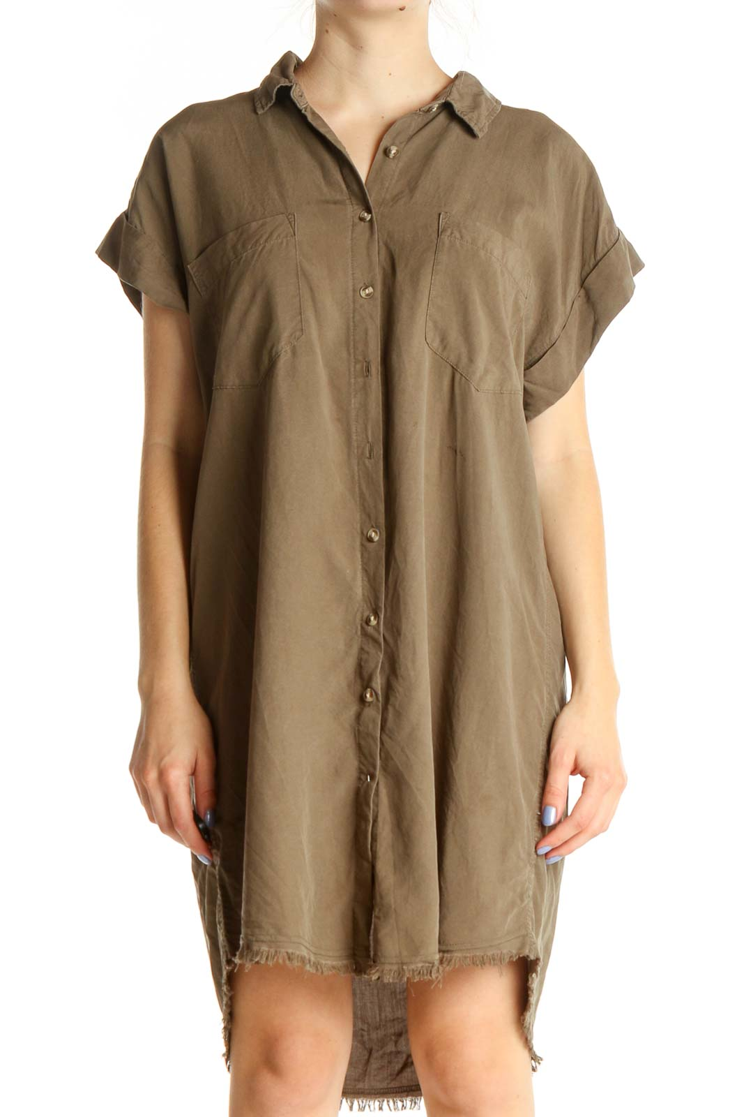 Brown Solid Day Shift Dress Front