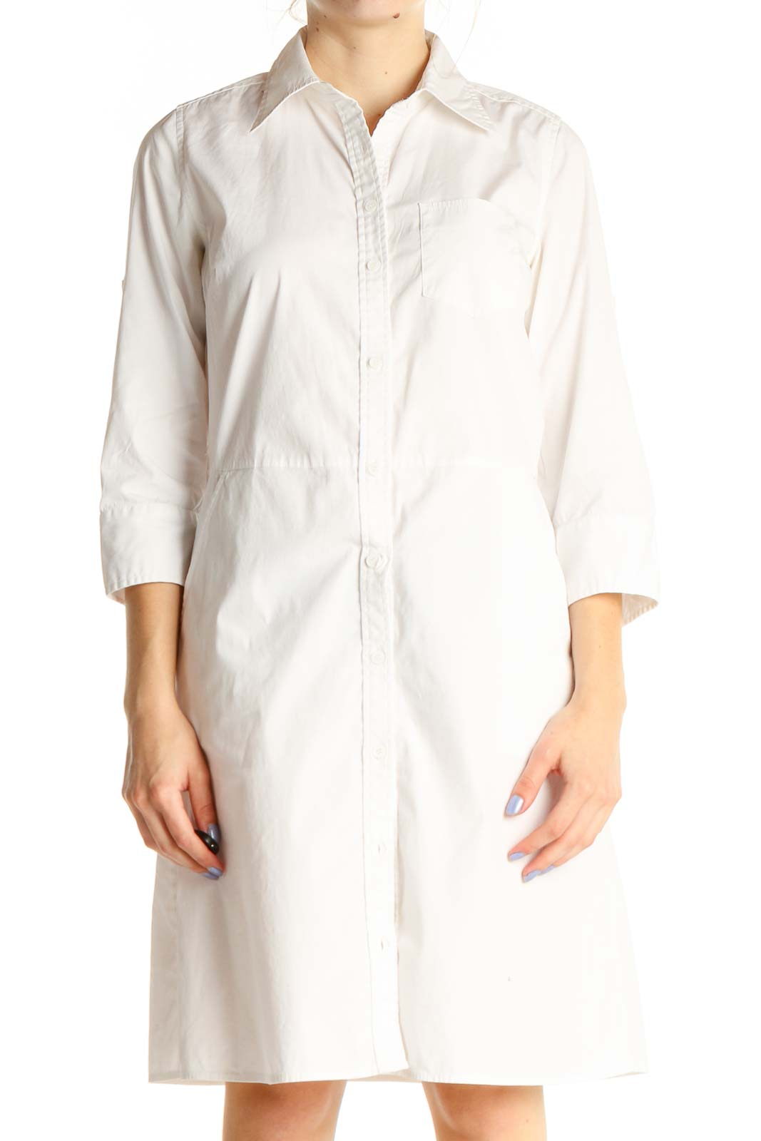 White Solid Day Sheath Dress Front