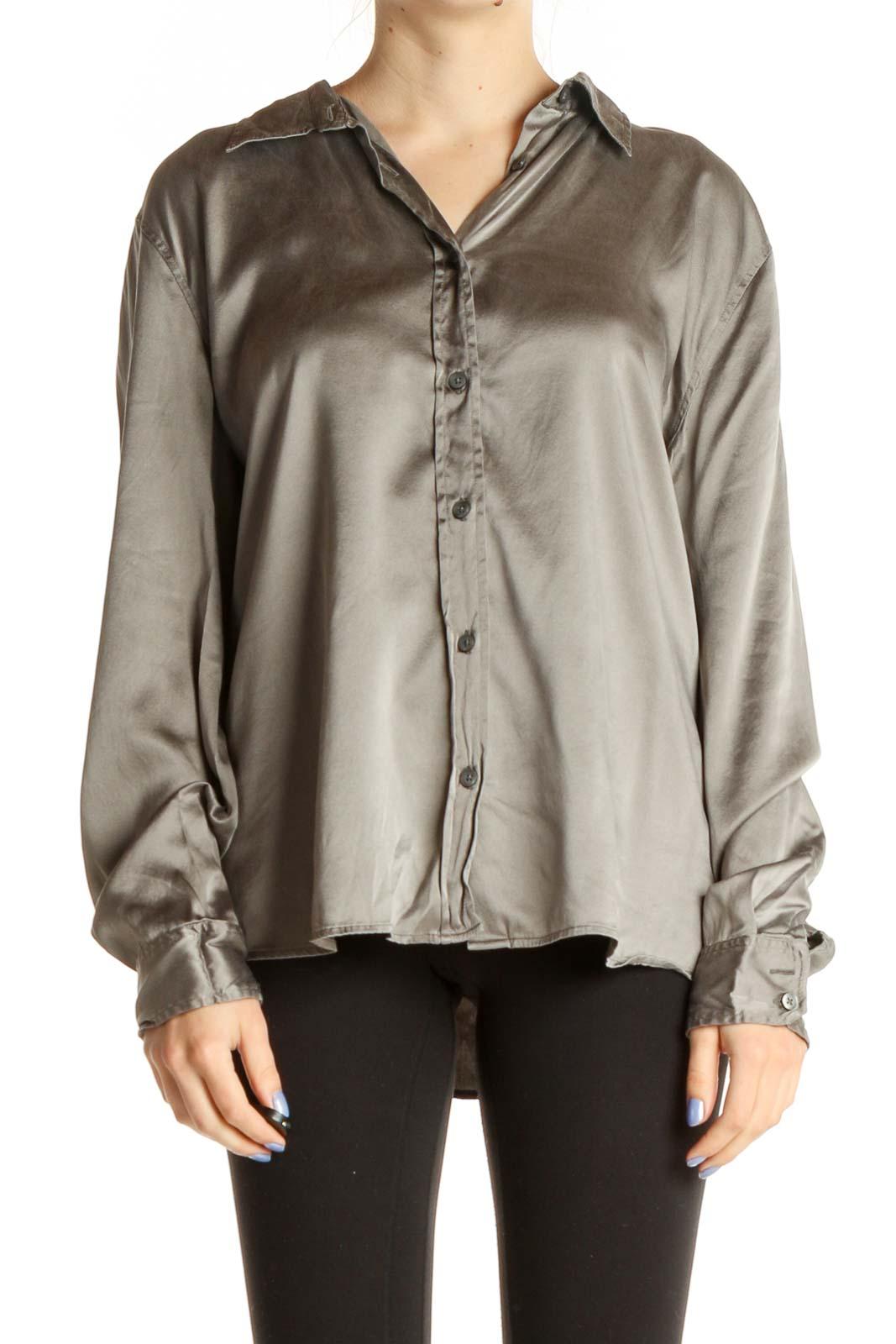 Gray Solid Silk Formal Shirt Front