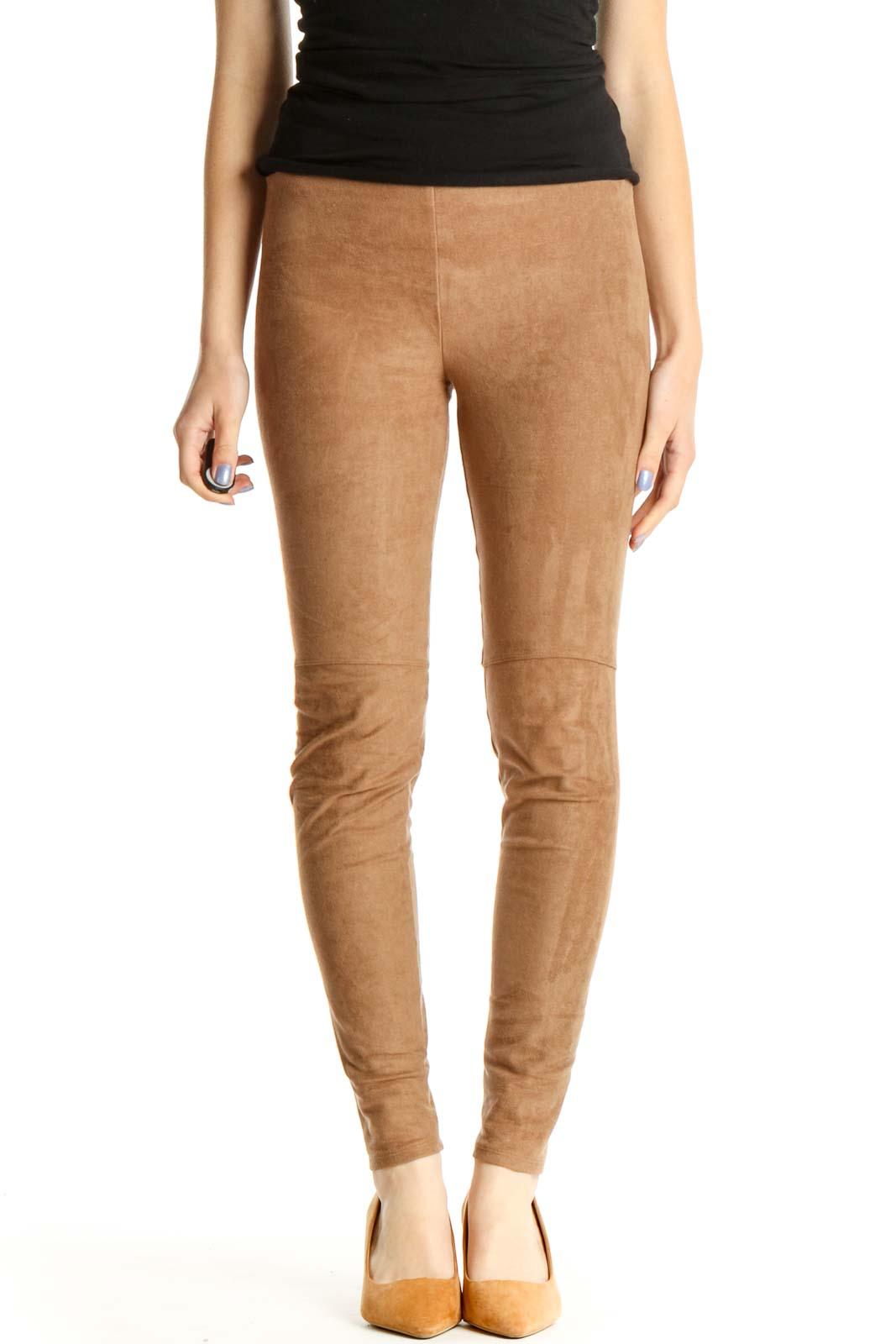 Brown Casual Leggings Front