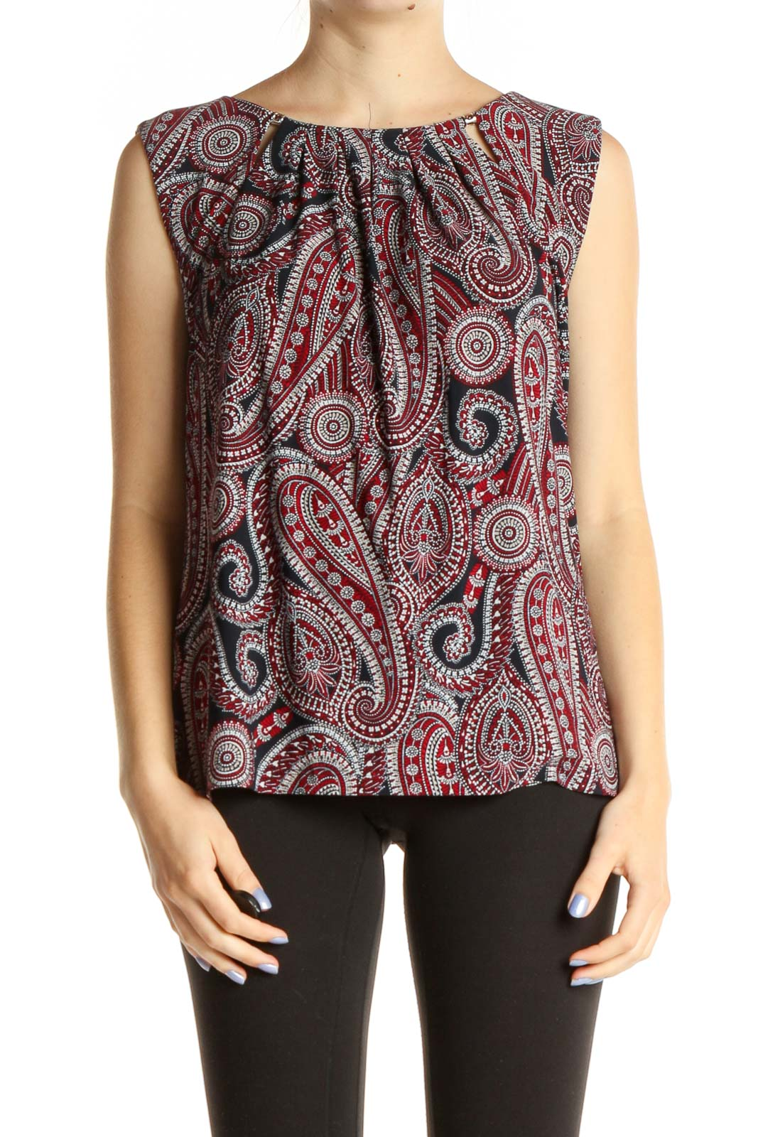 Red Paisley Bohemian Blouse Front