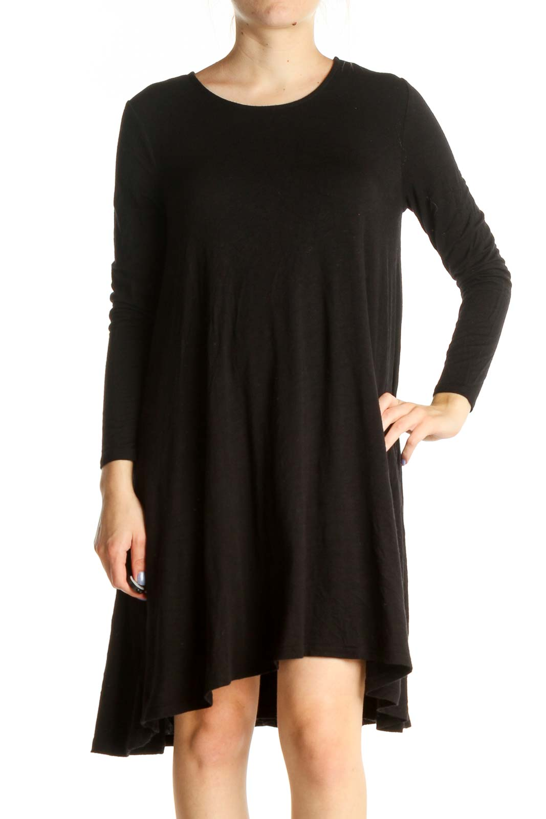 Black Solid Day Dress Front