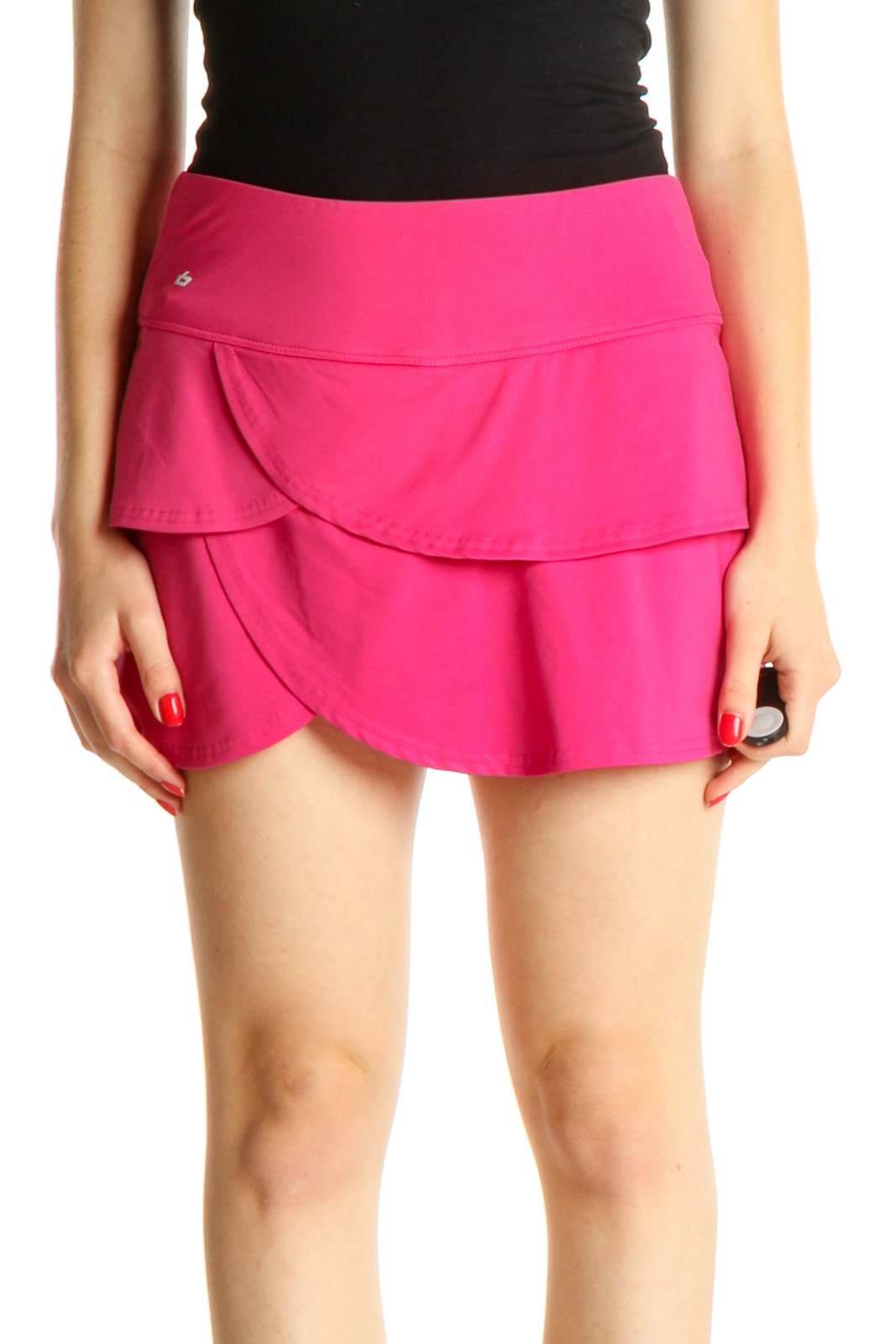 Pink Solid Activewear Skirt Front