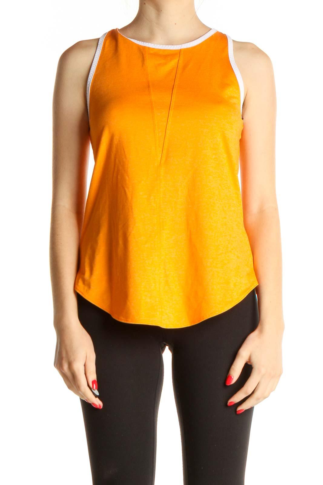 Orange Solid Activewear Tank Top Front
