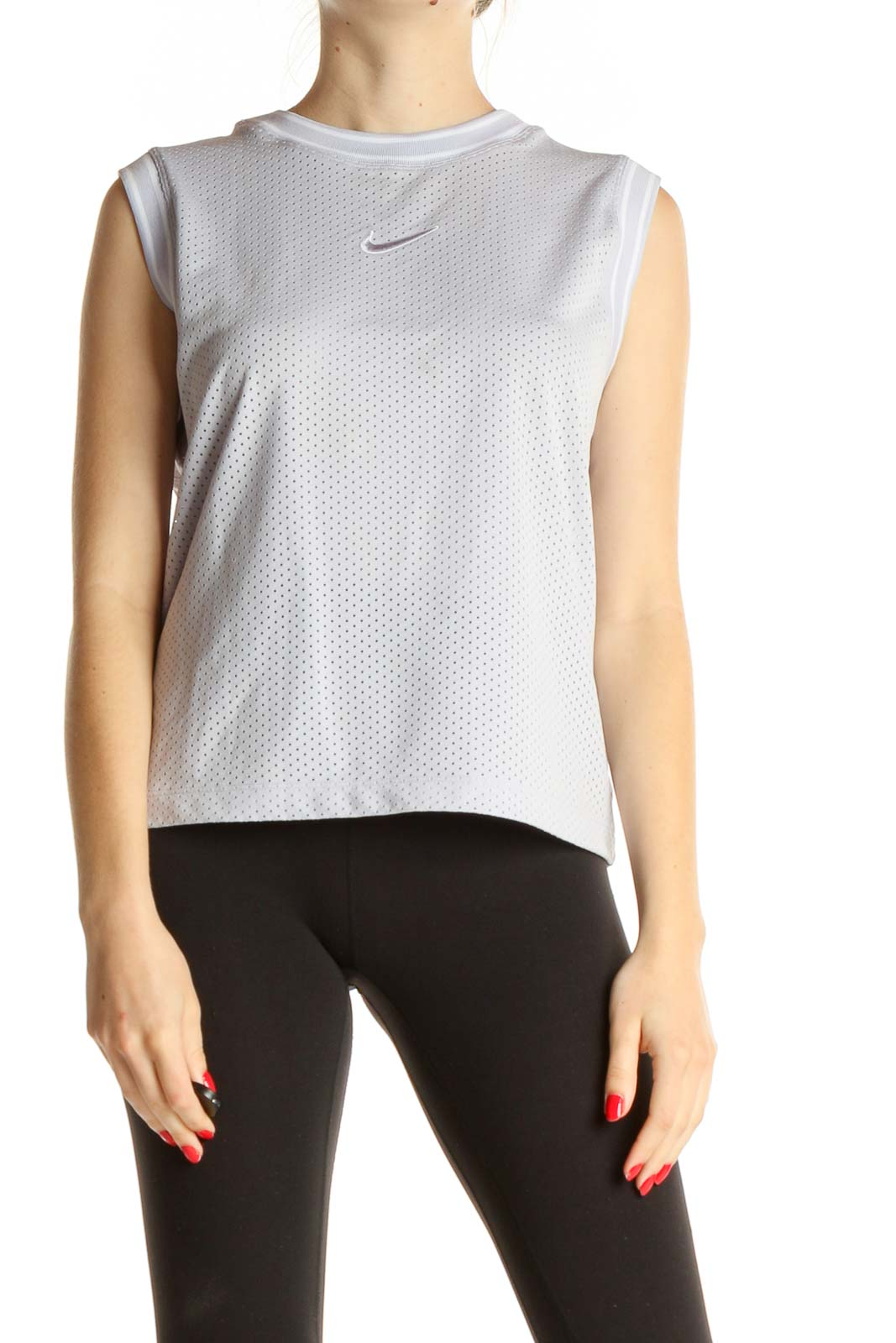 White Solid Activewear Tank Top Front