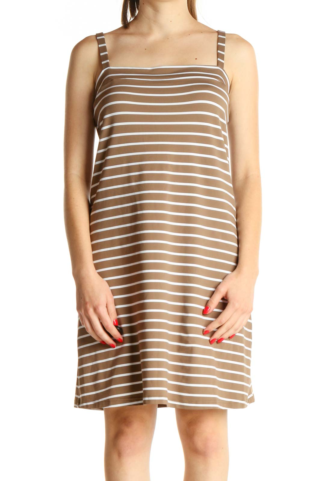 Brown Striped Day Dress Front