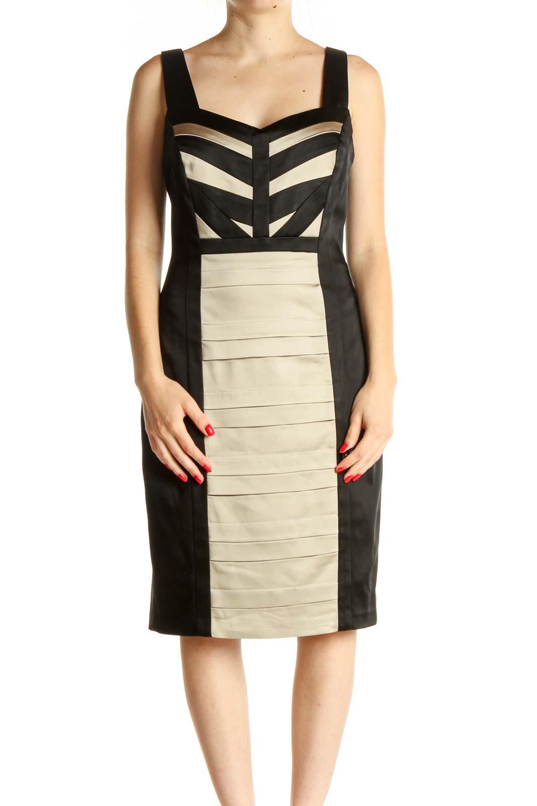 Beige Colorblock Work Sheath Dress Front