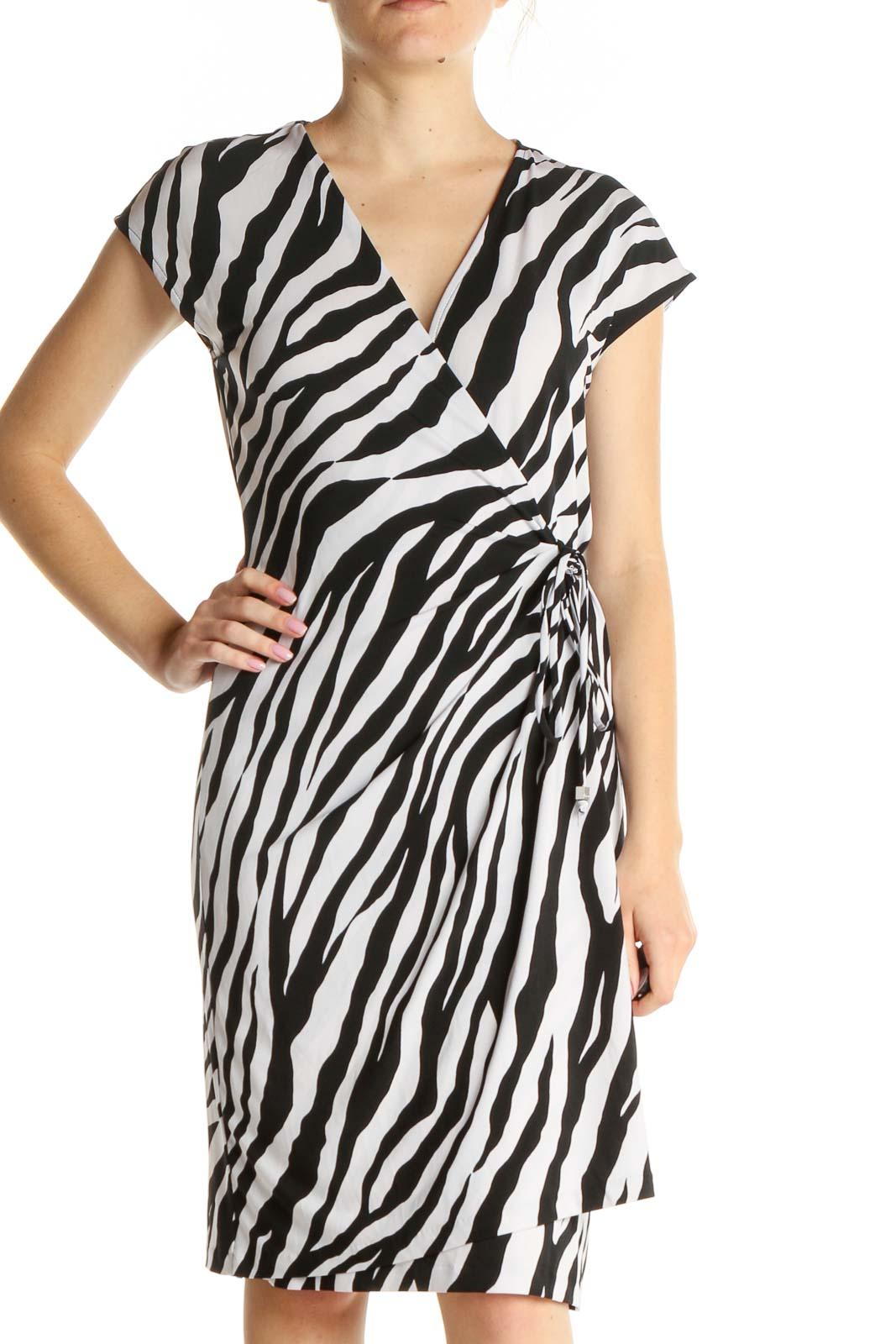 White Animal Print Cocktail Fit & Flare Dress Front