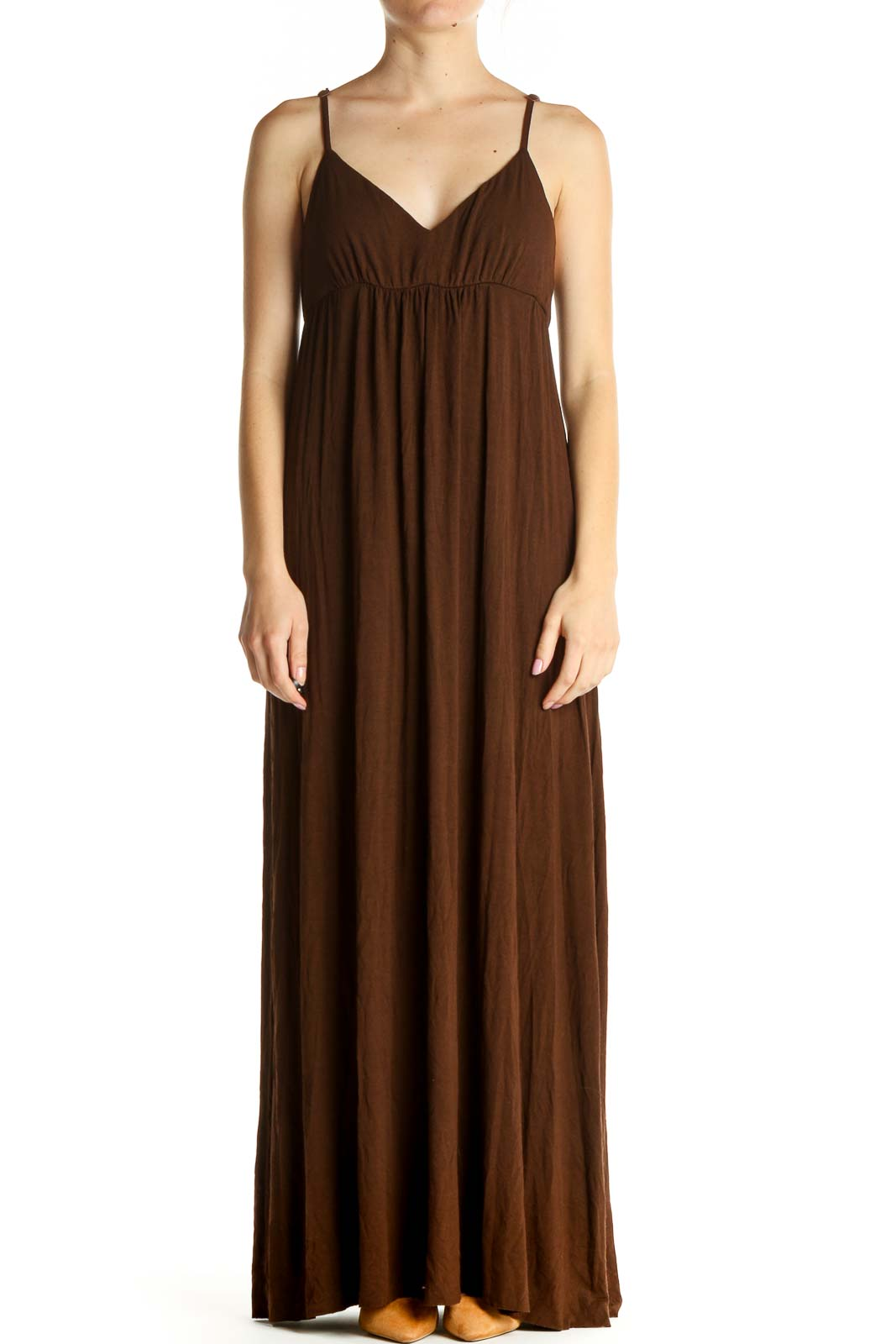 Brown Solid Bohemian Column Dress Front