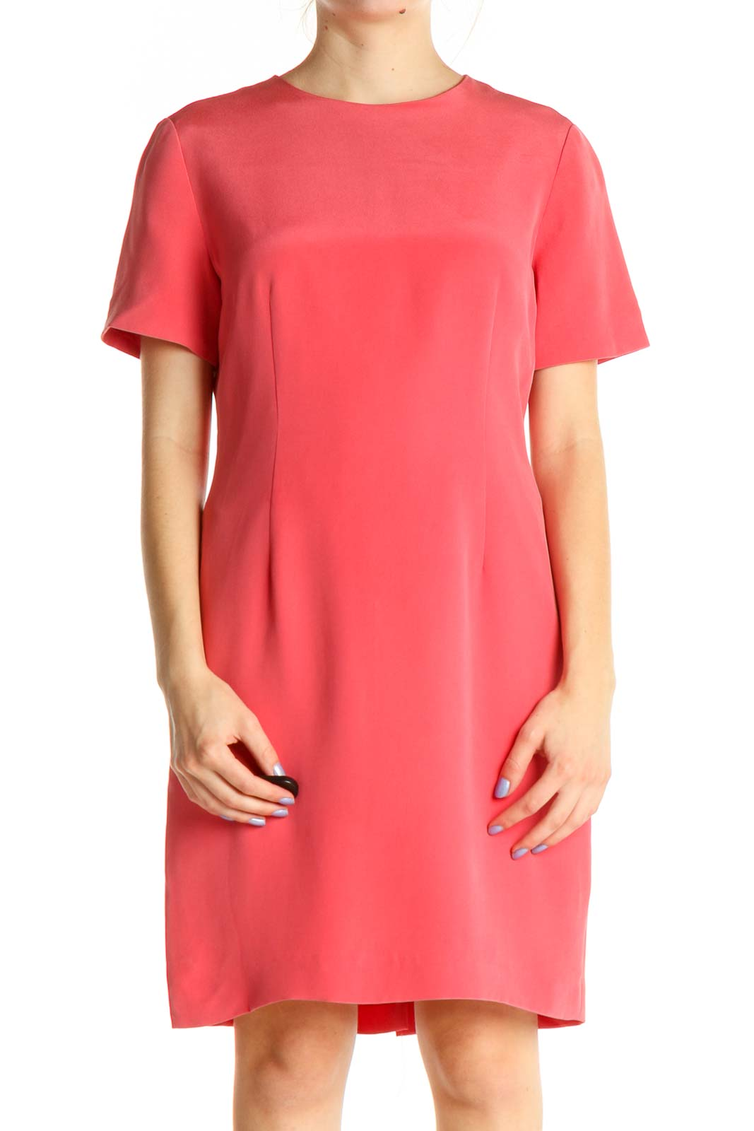 Pink Solid Silk Shift Dress Front