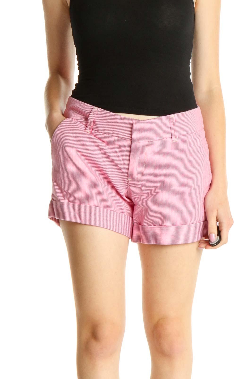 Pink Striped All Day Wear Shorts Front