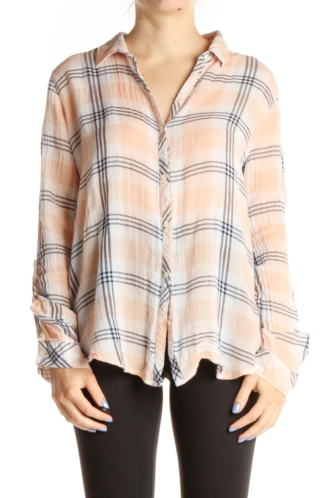 Pink Plaid Button Up Shirt Front