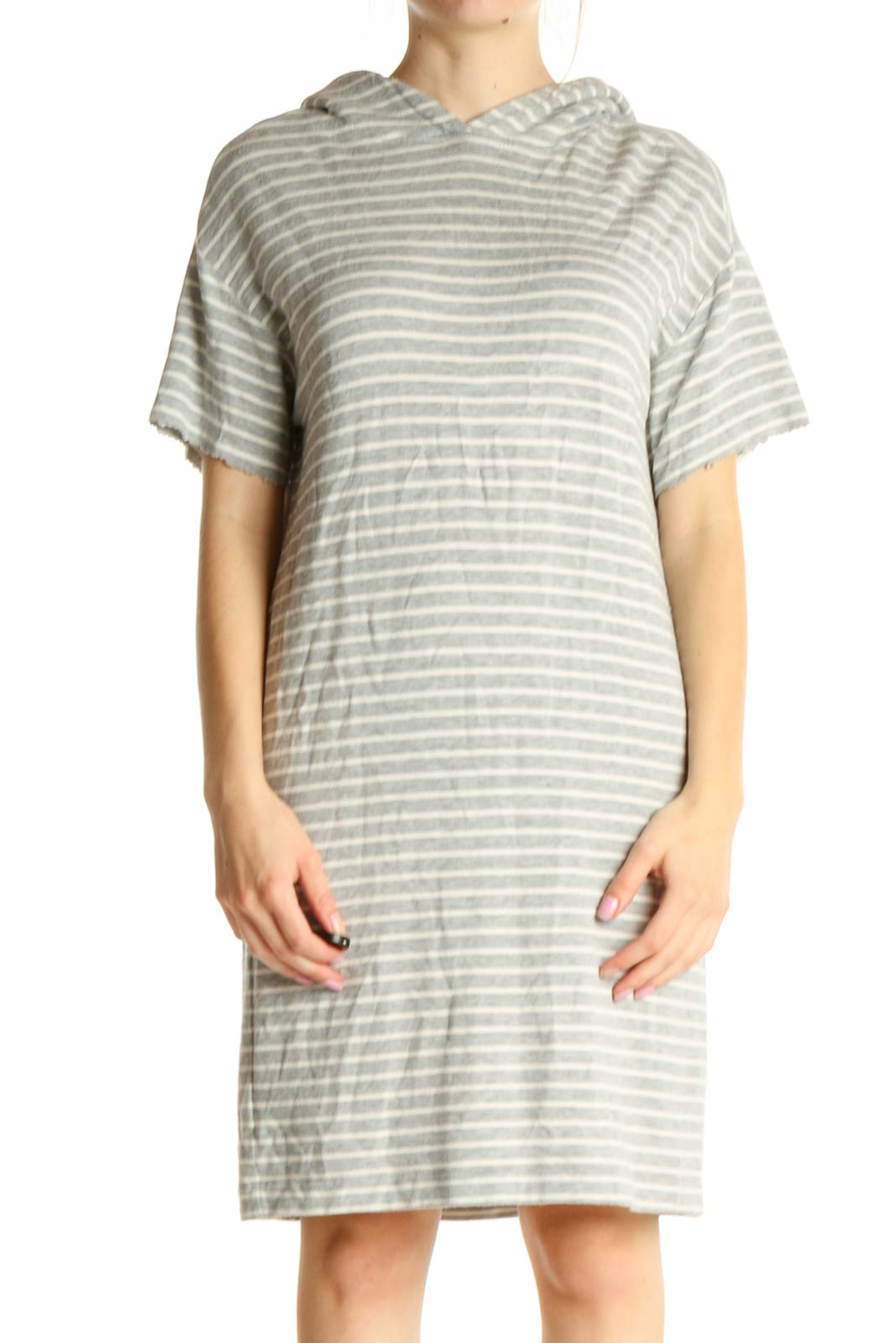 Gray Striped Classic Shift Dress Front