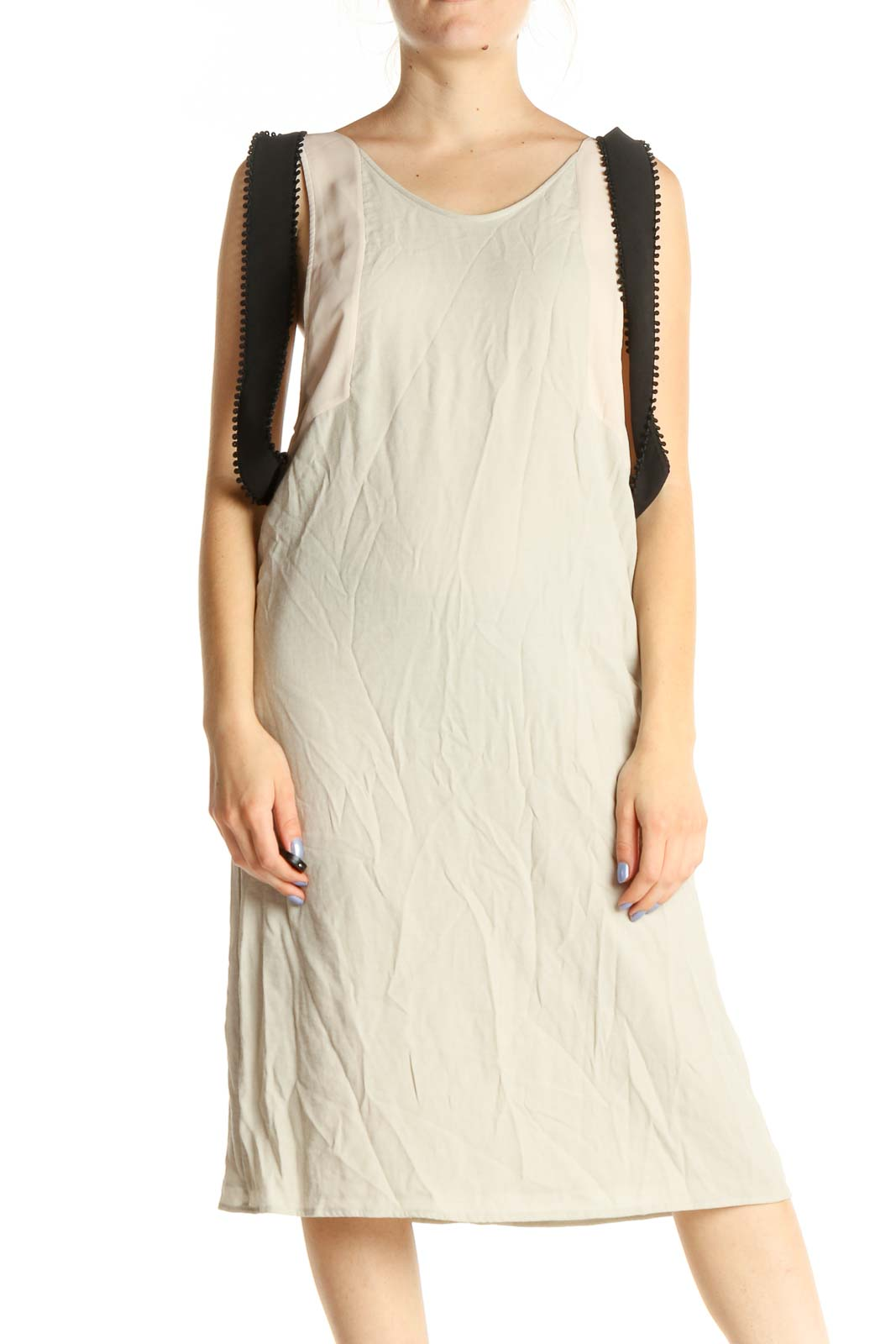 Beige Solid Classic Shift Dress Front
