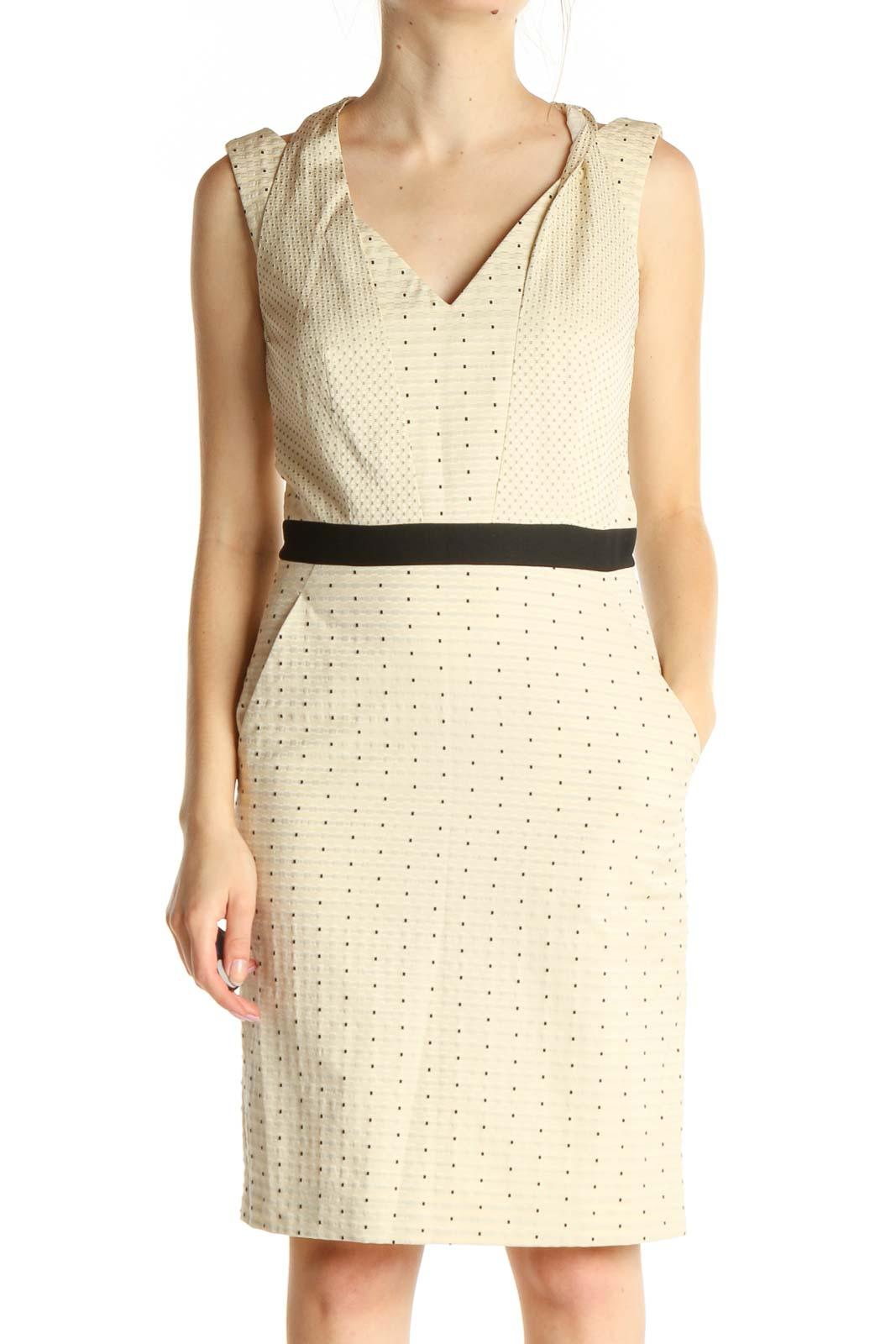 Beige Polka Dot Work Sheath Dress Front