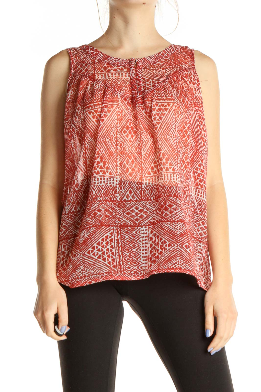 Red Geometric Print Casual Blouse Front