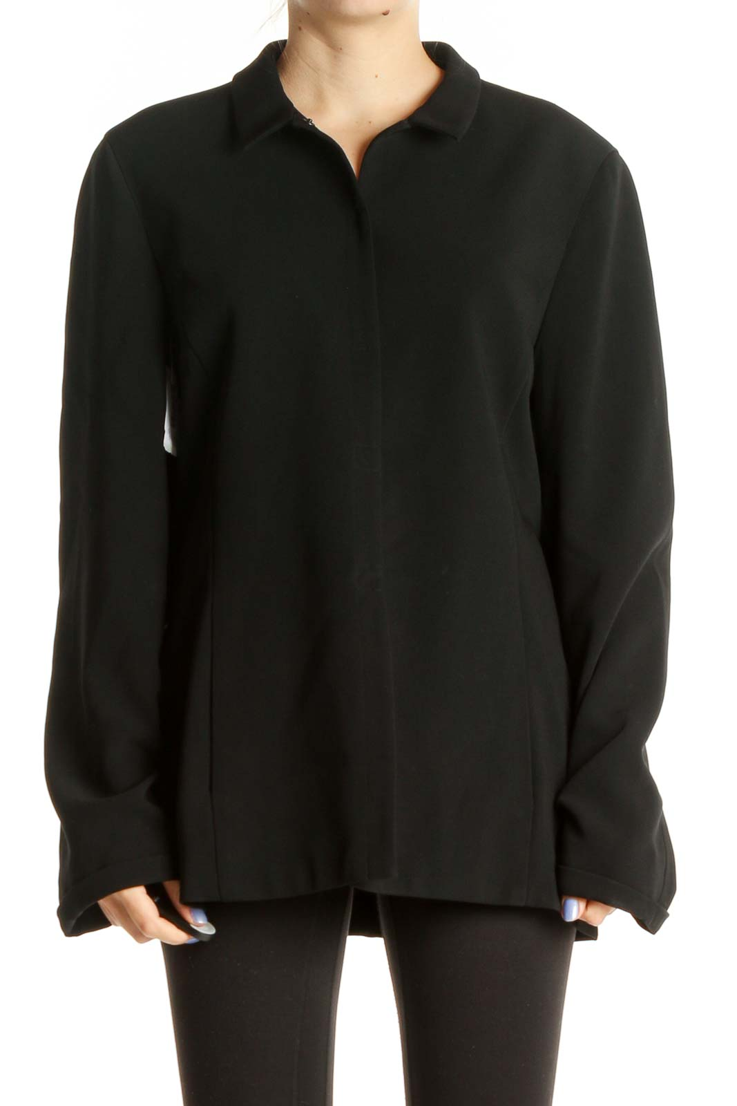 Black Solid Classic Shirt Front