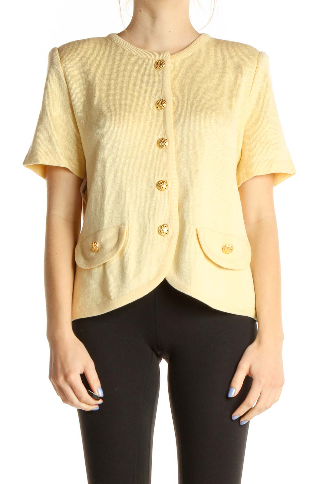 Yellow Solid All Day Wear Vintage Blouse Front