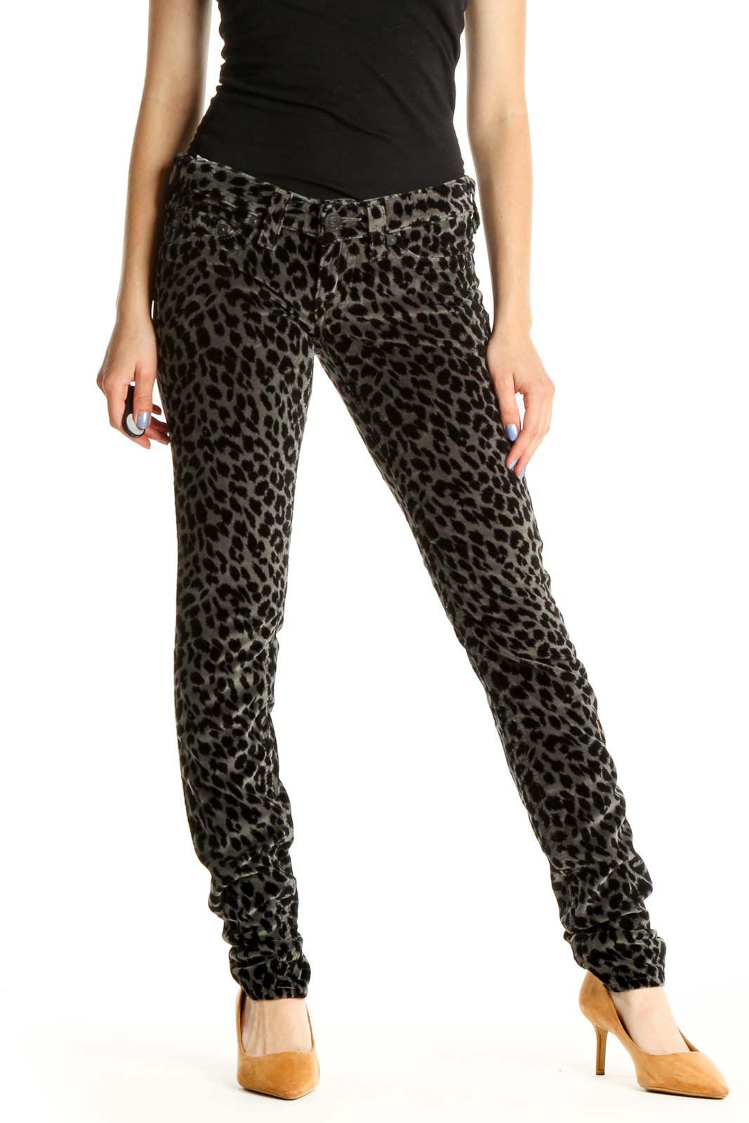 Black Printed All Day Wear Pants Front