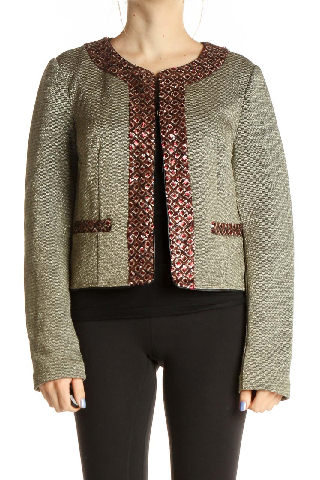 Gray Sequin Jacket Front