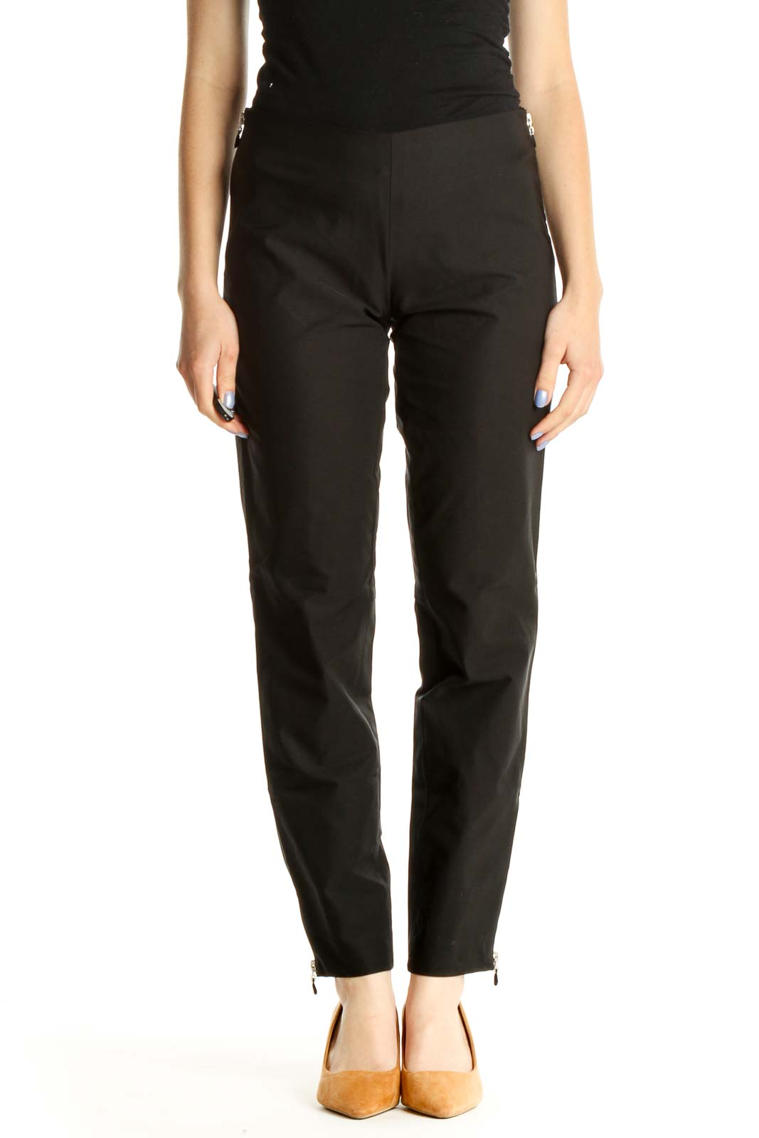 Black Solid All Day Wear Zippered Trousers Front