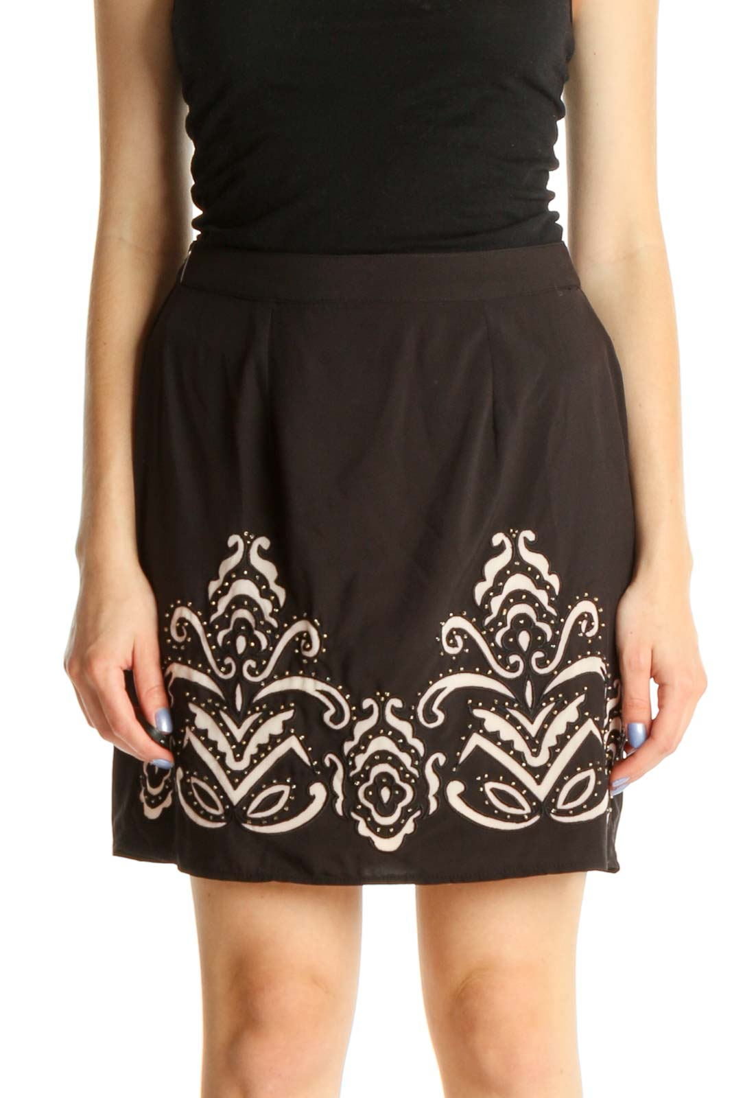 Black Graphic Print Holiday Pencil Skirt Front