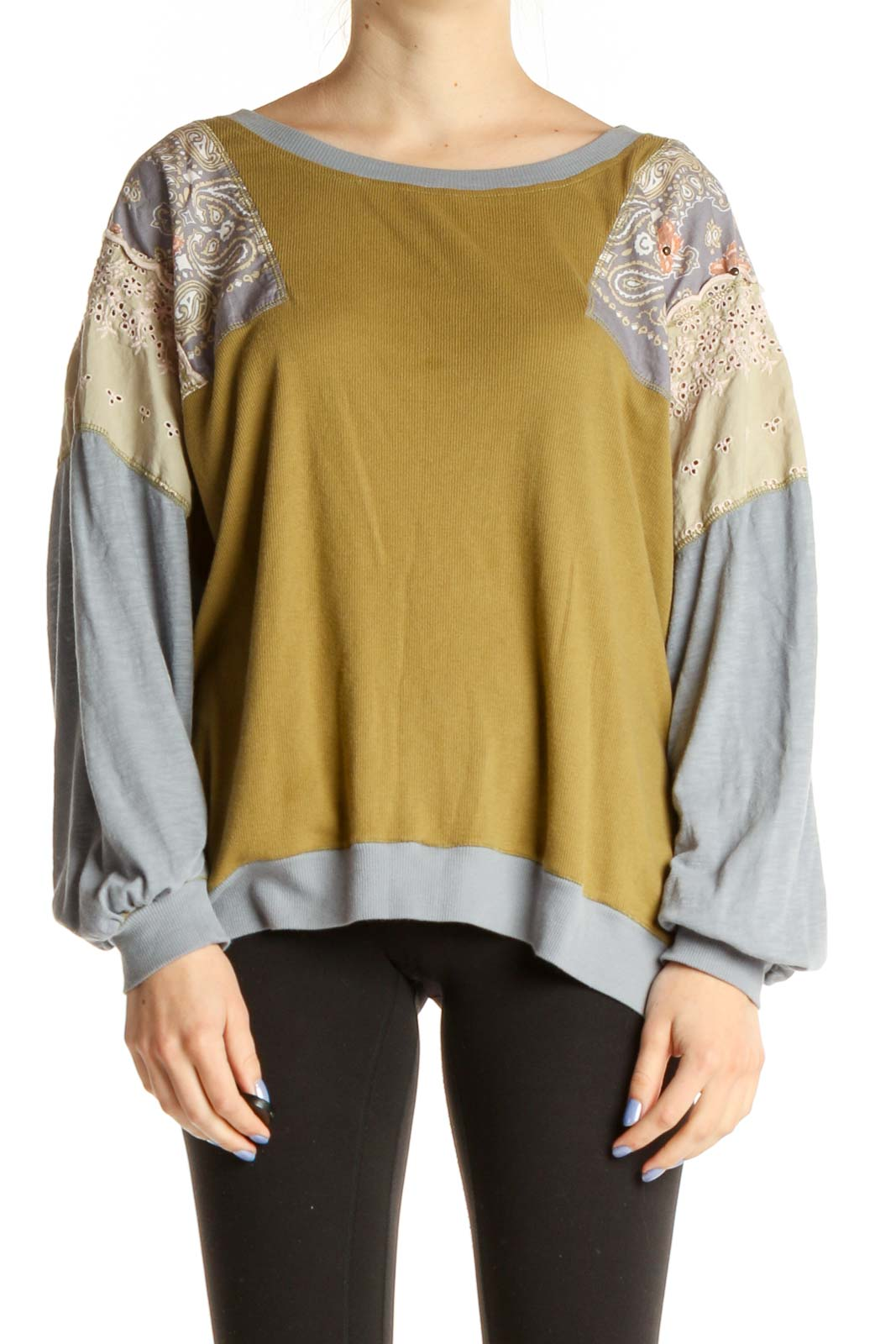 Yellow Textured Bohemian Blouse Front