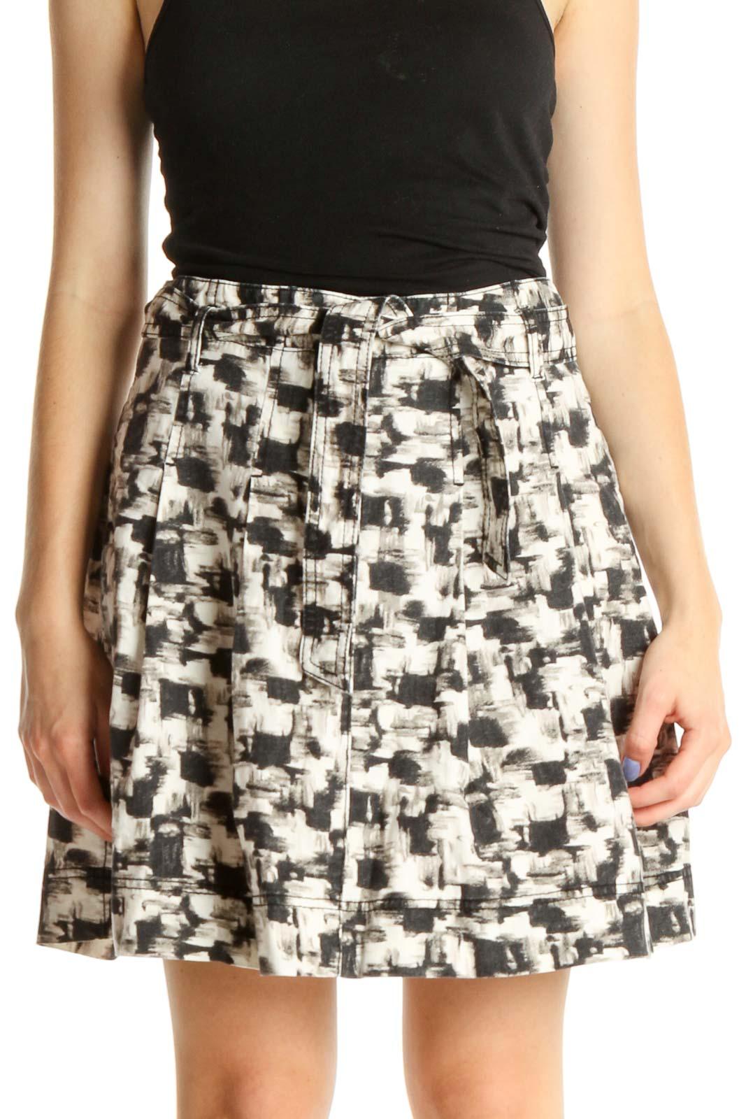 Beige Printed Brunch A-Line Skirt Front