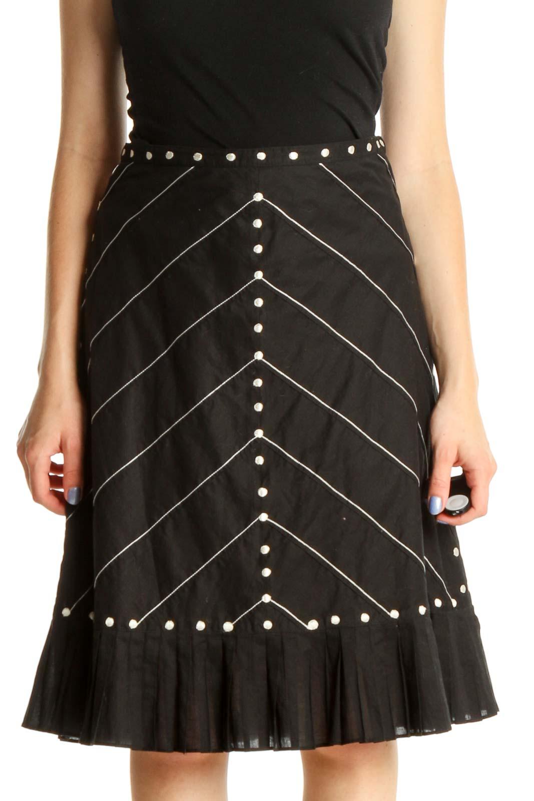 Black Printed Brunch A-Line Skirt Front