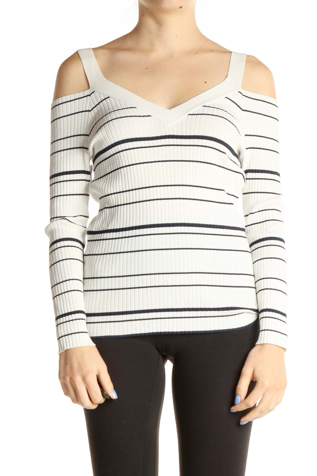 White Exposed Shoulder Striped Shirt Front