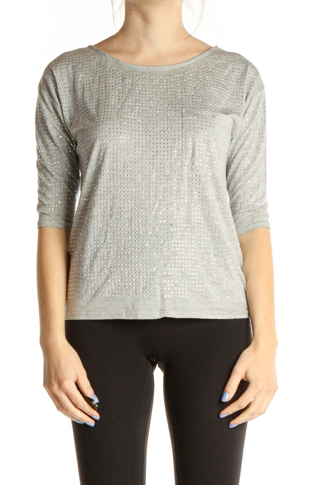 Gray Textured All Day Wear T-Shirt Front