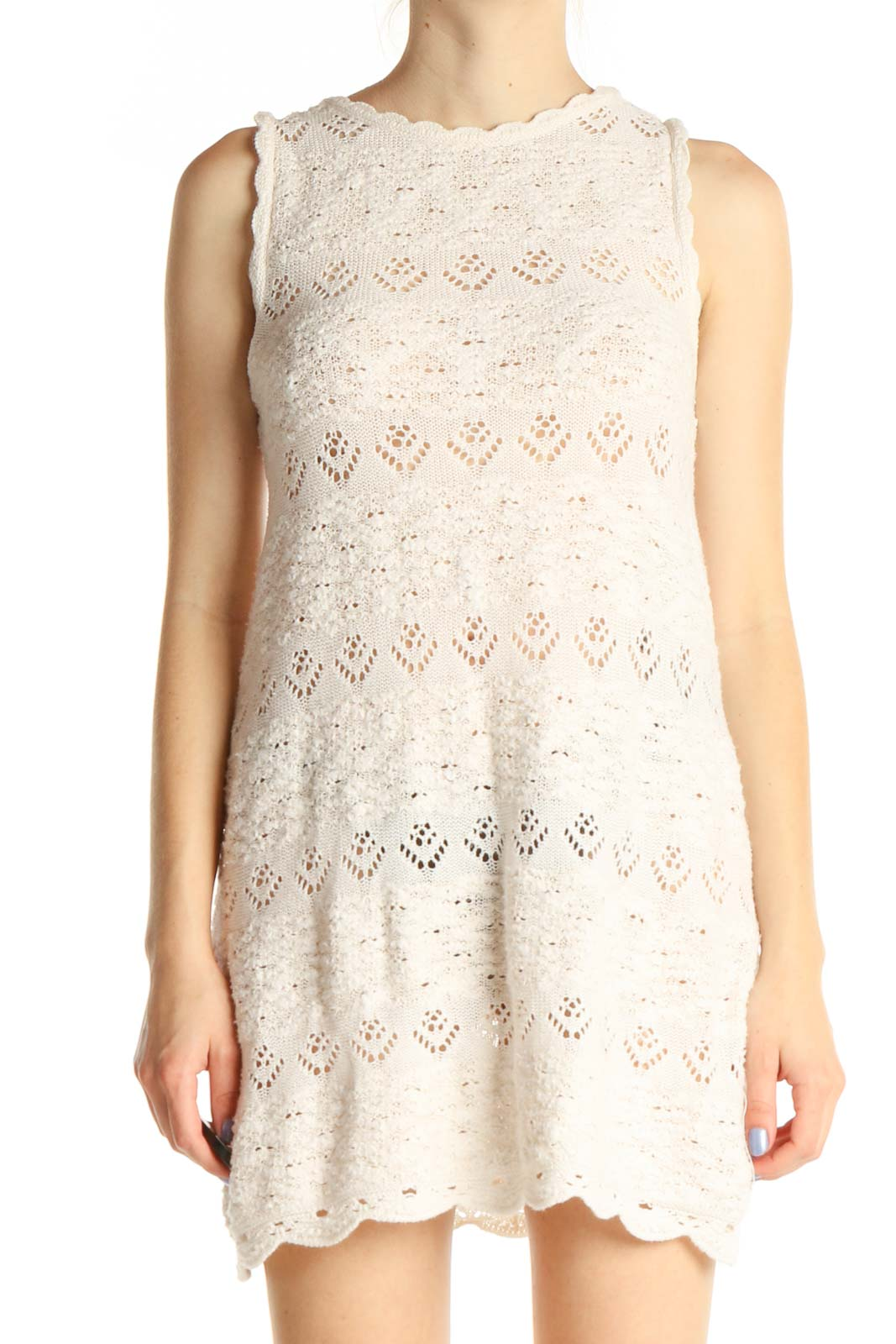 Beige Lace Holiday Fit & Flare Dress Front
