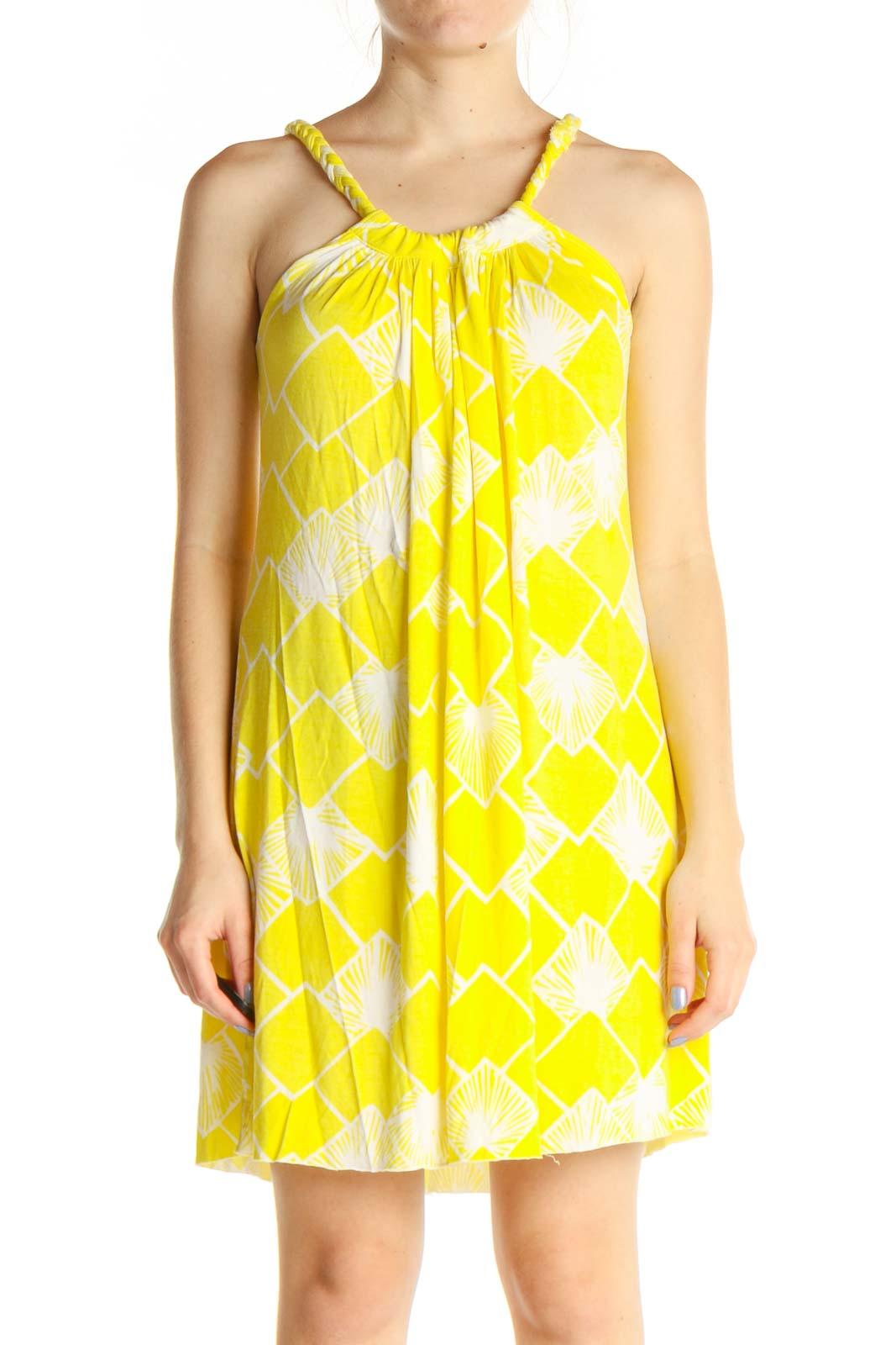 Yellow Geometric Print Holiday Sheath Dress Front