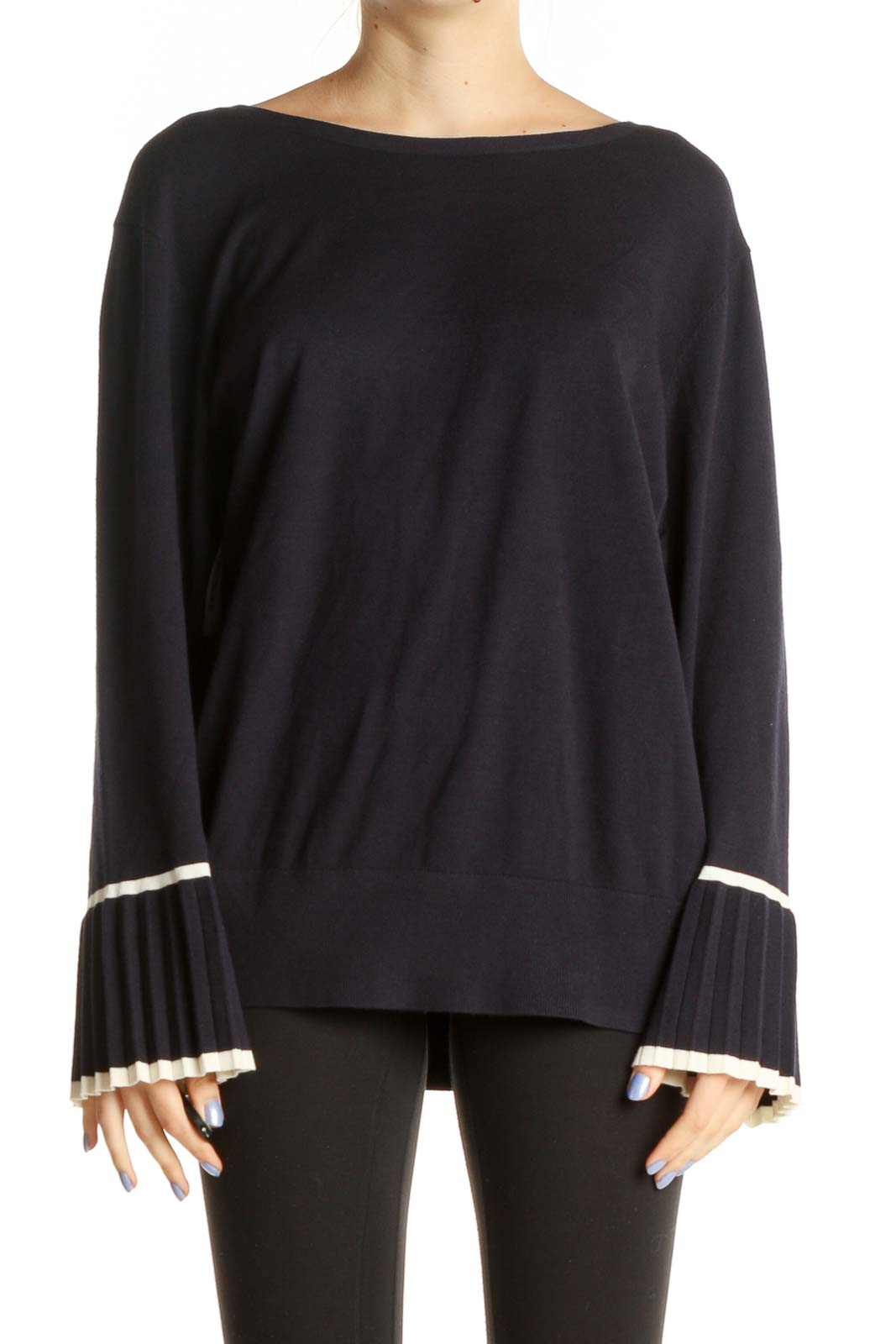 Blue Solid Classic Sweater Front