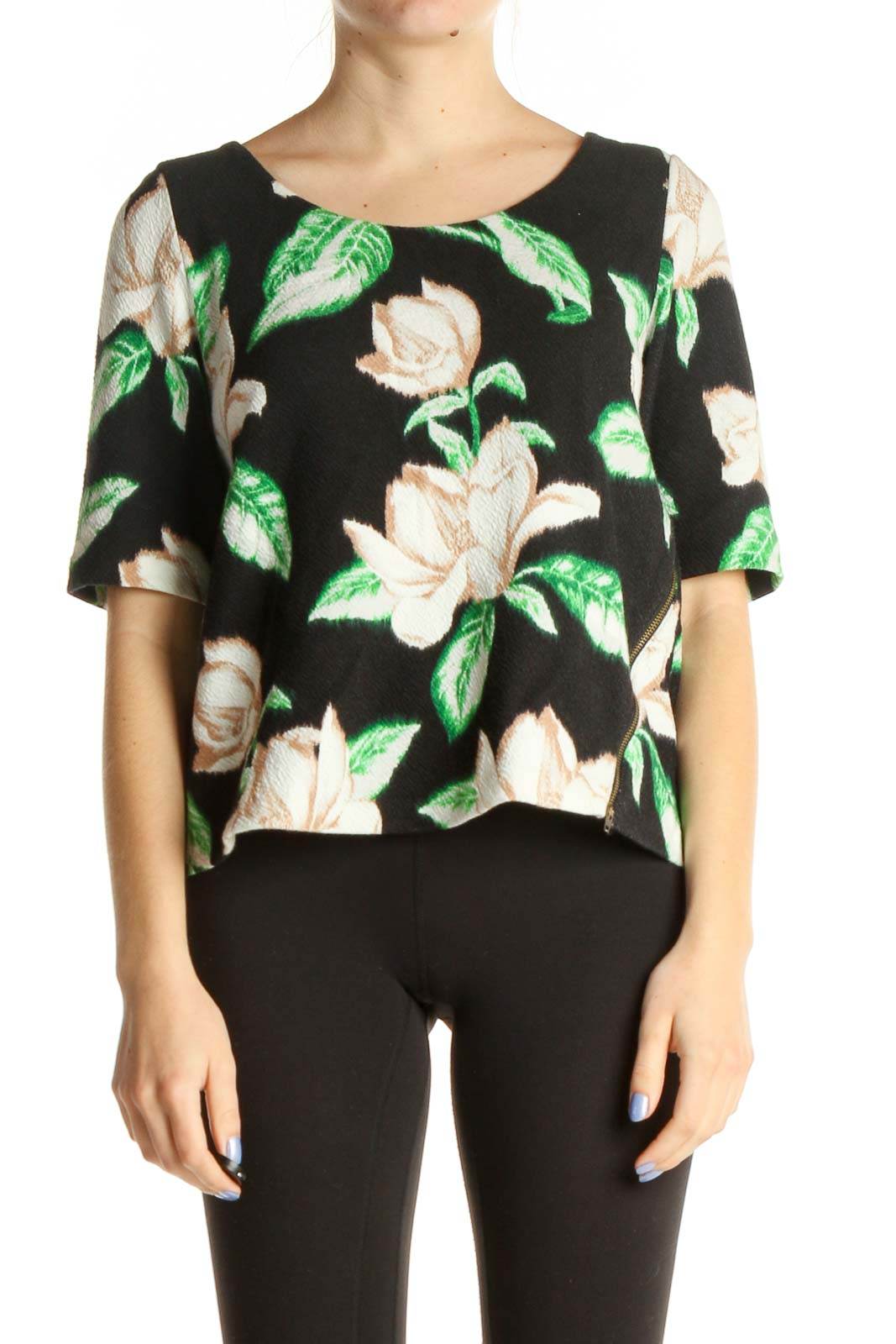 Black Floral Print All Day Wear Shirt Front
