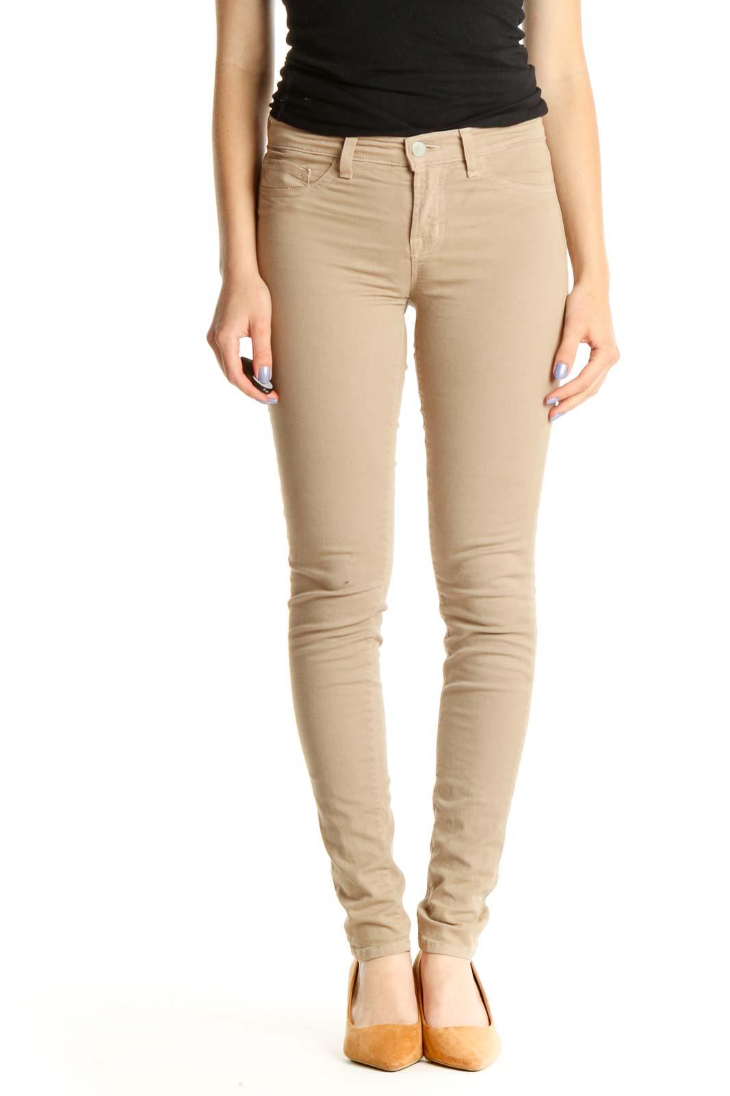 Beige Skinny Jeans Front