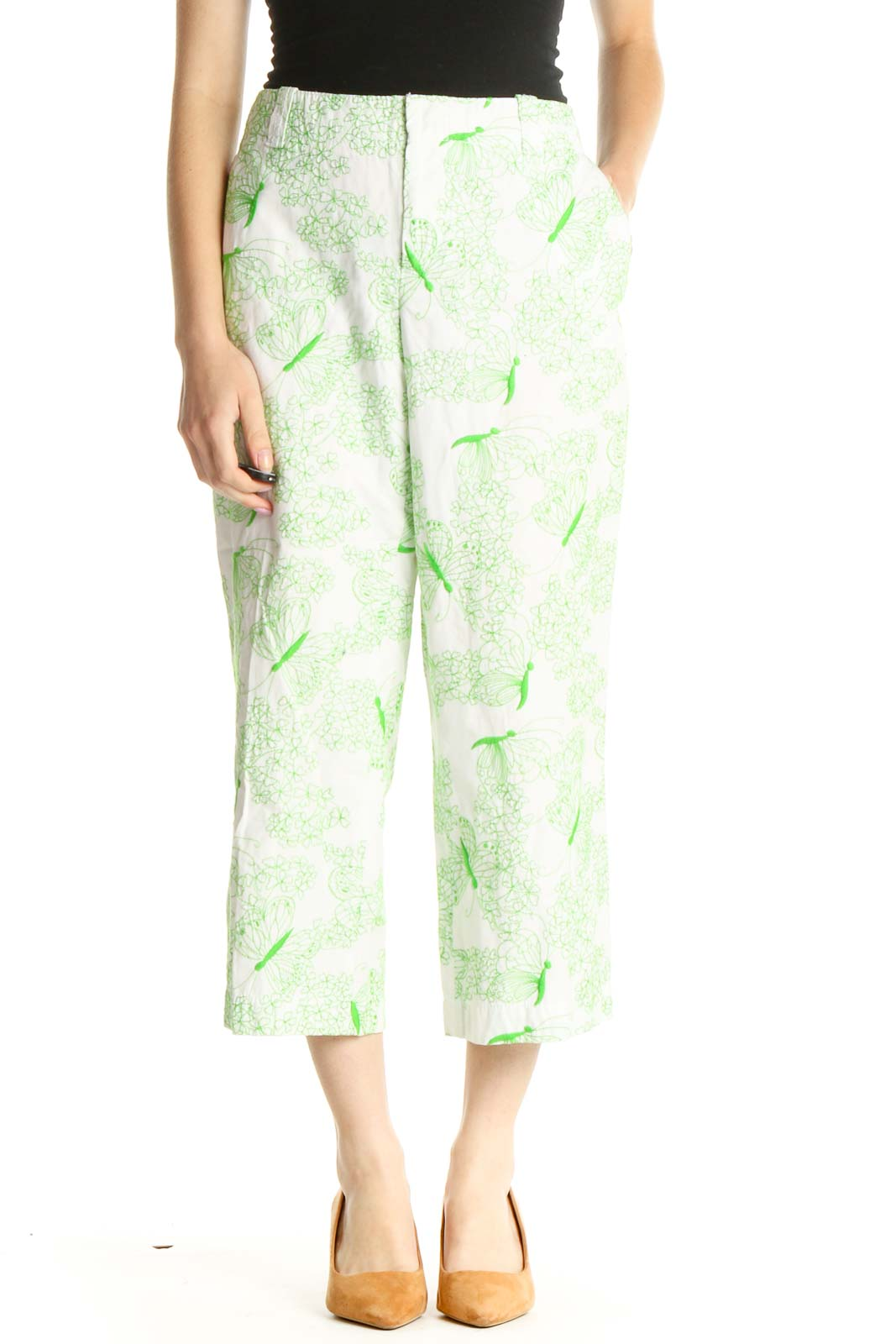 White Printed All Day Wear Culottes Pants Front